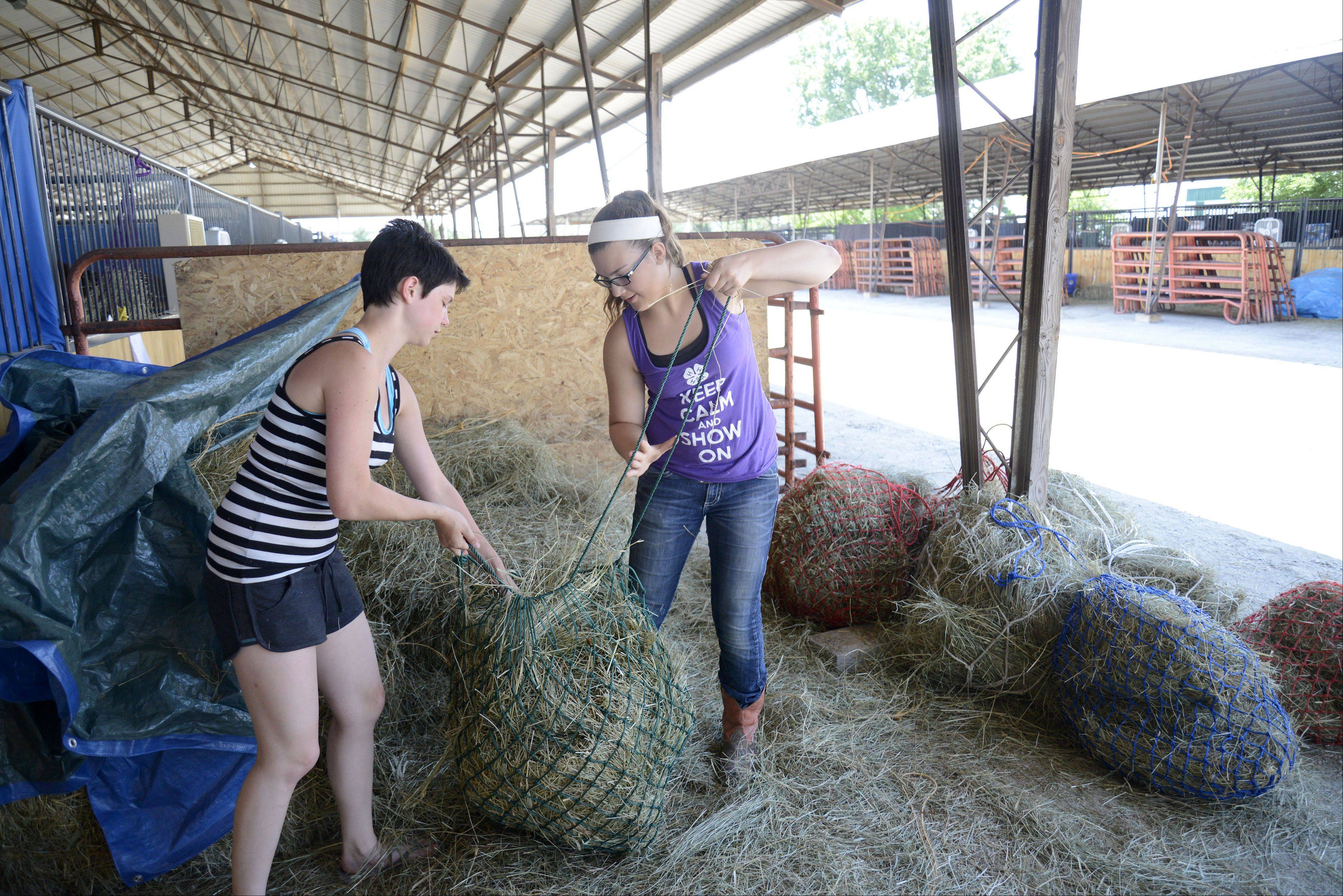 Zoe Kowalczyk, 15, of St. Charles, left, and Lydia Sabanish, 12, of Cortland, team up to fill hay nets for the horses in their Y-Not 4-H group out of Maple Park on Saturday at the Kane County Fair in St. Charles.