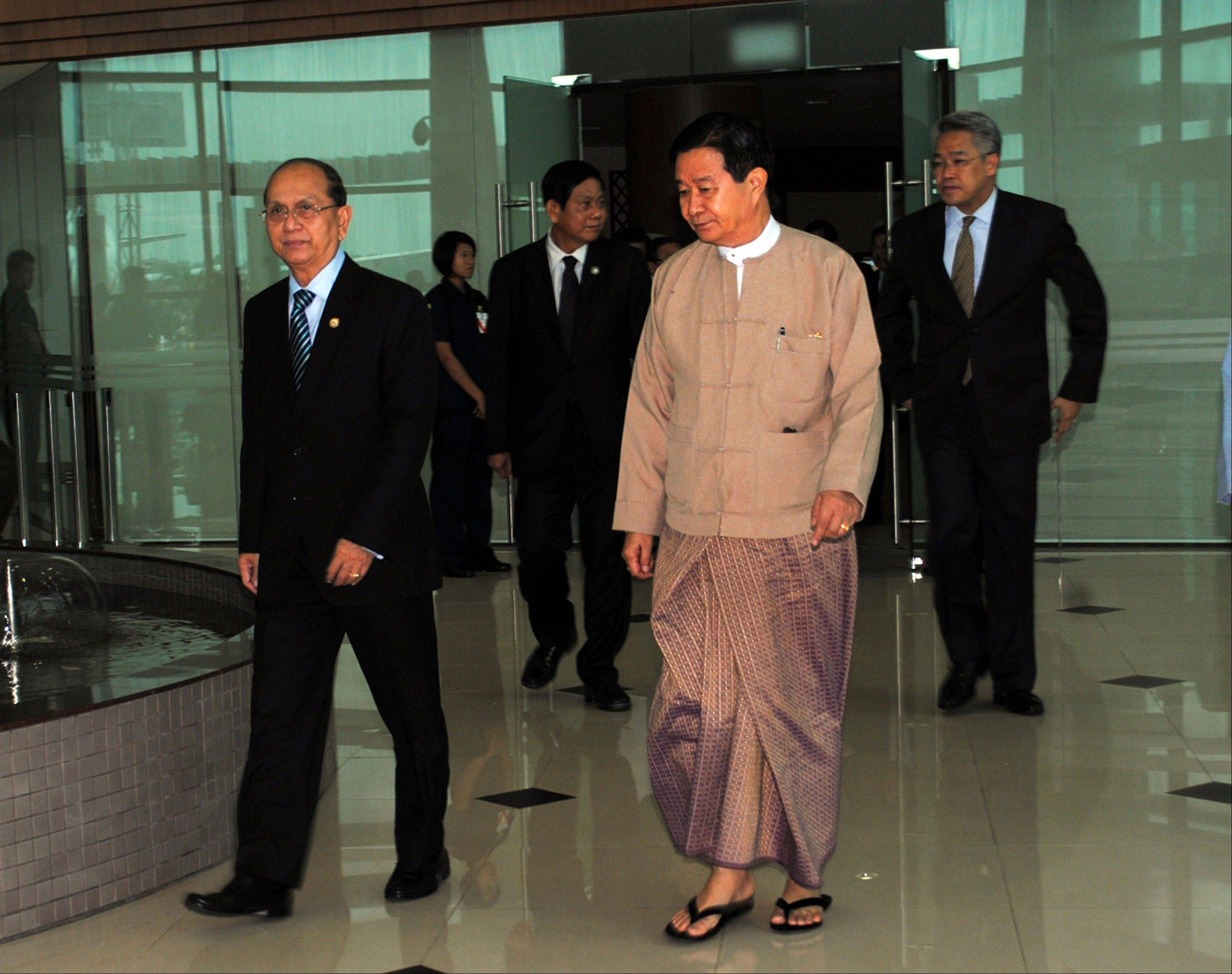 Associated PressMyanmar President Thein Sein, left, arrives at Yangon International Airport in Yangon, Myanmar as he returns from a European tour, Saturday, July 20. Myanmar's president on Saturday lifted a state of emergency in the central part of the country put in place after Buddhist-led mobs went on a rampage, killing dozens of Muslims and burning down their shops and homes. Many of the victims were teachers and teenage students from an Islamic school.