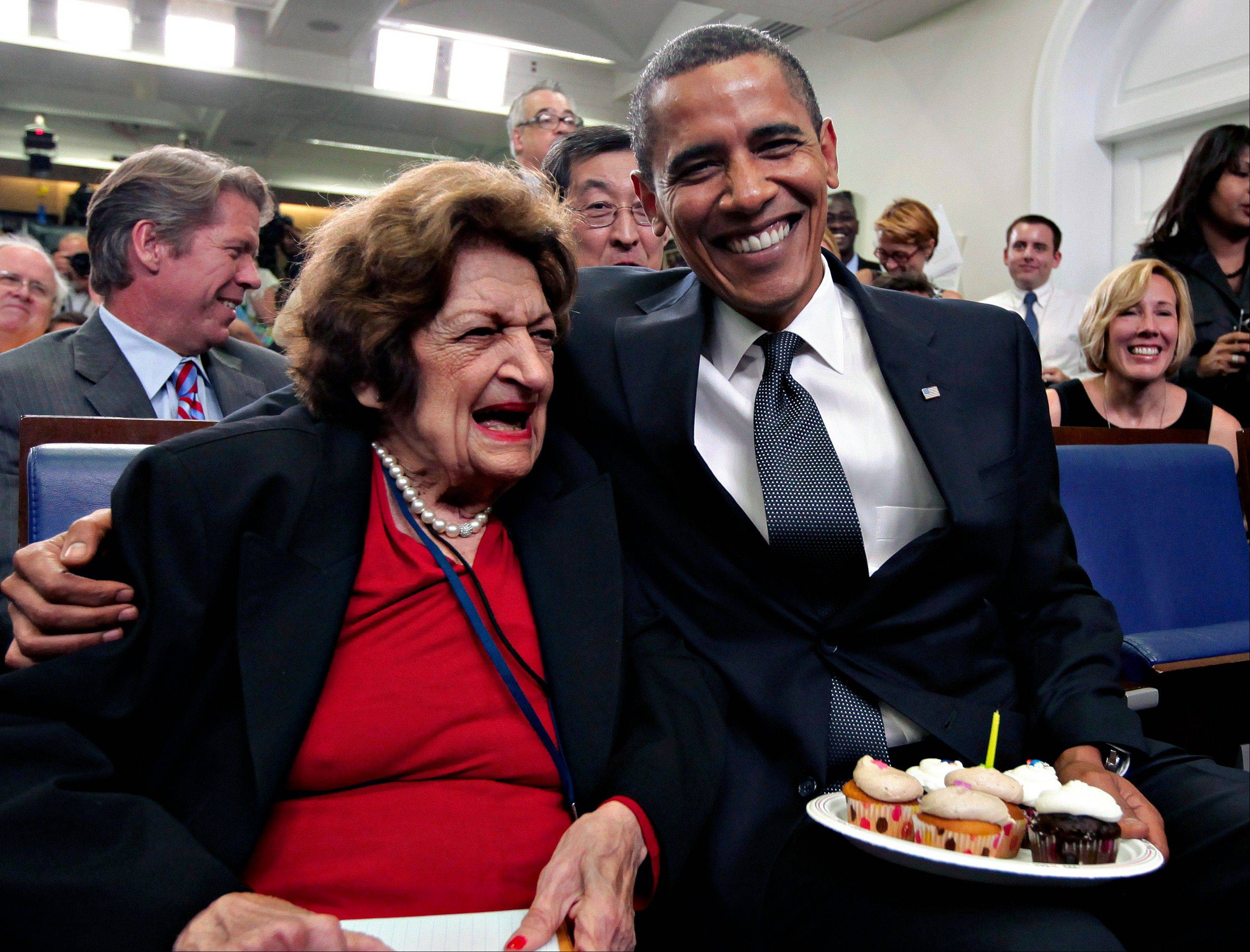Associated PressIn this Aug. 4, 2009, file photo, veteran White House reporter Helen Thomas, left, celebrates her 89th birthday with President Barack Obama, celebrating his 48th birthday, in the White House Press Briefing Room in Washington. Thomas, a pioneer for women in journalism and an irrepressible White House correspondent, has died Saturday, July 20, 2013. She was 92.