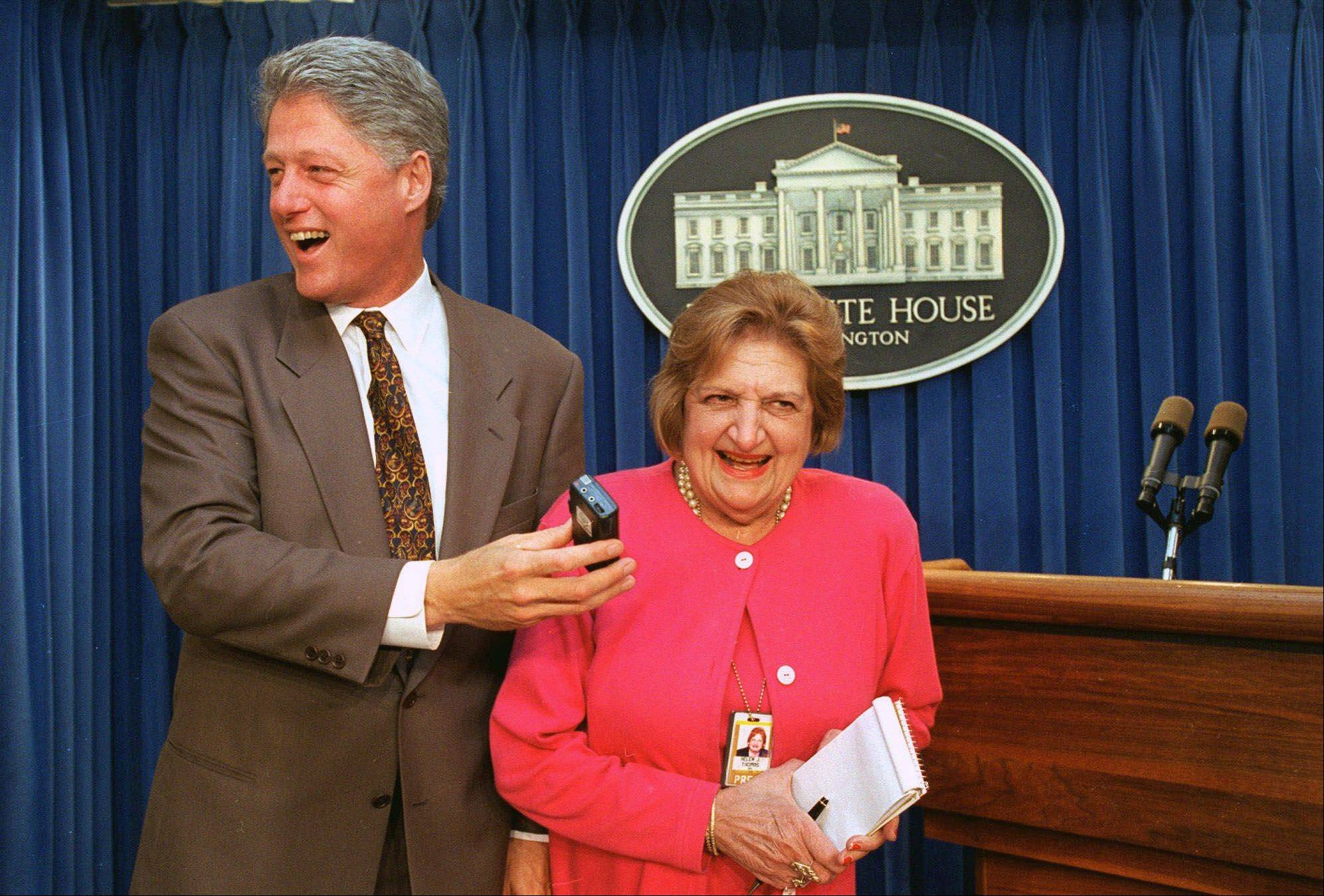"Associated PressIn this Aug. 4, 1995, file photo, President Clinton ""interviews"" UPI White House correspondent Helen Thomas in the White House briefing room in Washington. Thomas, a pioneer for women in journalism and an irrepressible White House correspondent, has died Saturday, July 20, 2013. She was 92."