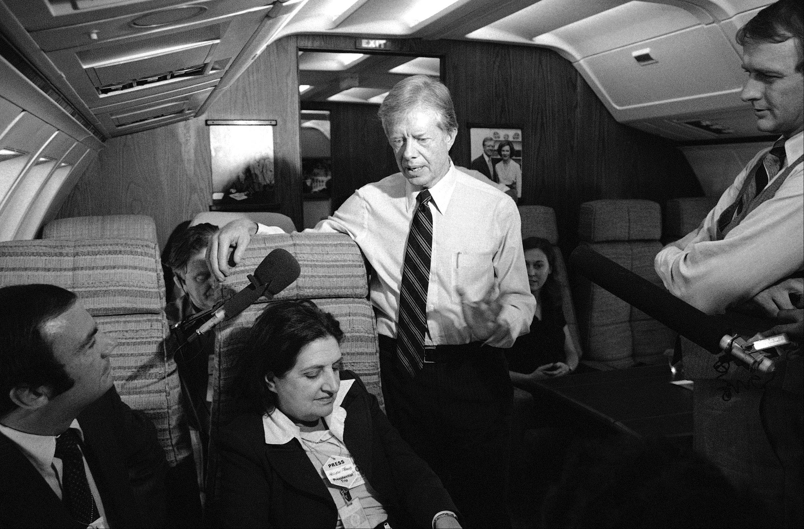 Associated PressIn this Oct. 20, 1979, file photo, President Jimmy Carter and press secretary Jody Powell, right, talk with reporters Helen Thomas, center, and Sam Donaldson, left, while aboard Air Force One prior to landing at Andrews Air Force Base, Md. Thomas, a pioneer for women in journalism and an irrepressible White House correspondent, has died Saturday, July 20. She was 92.