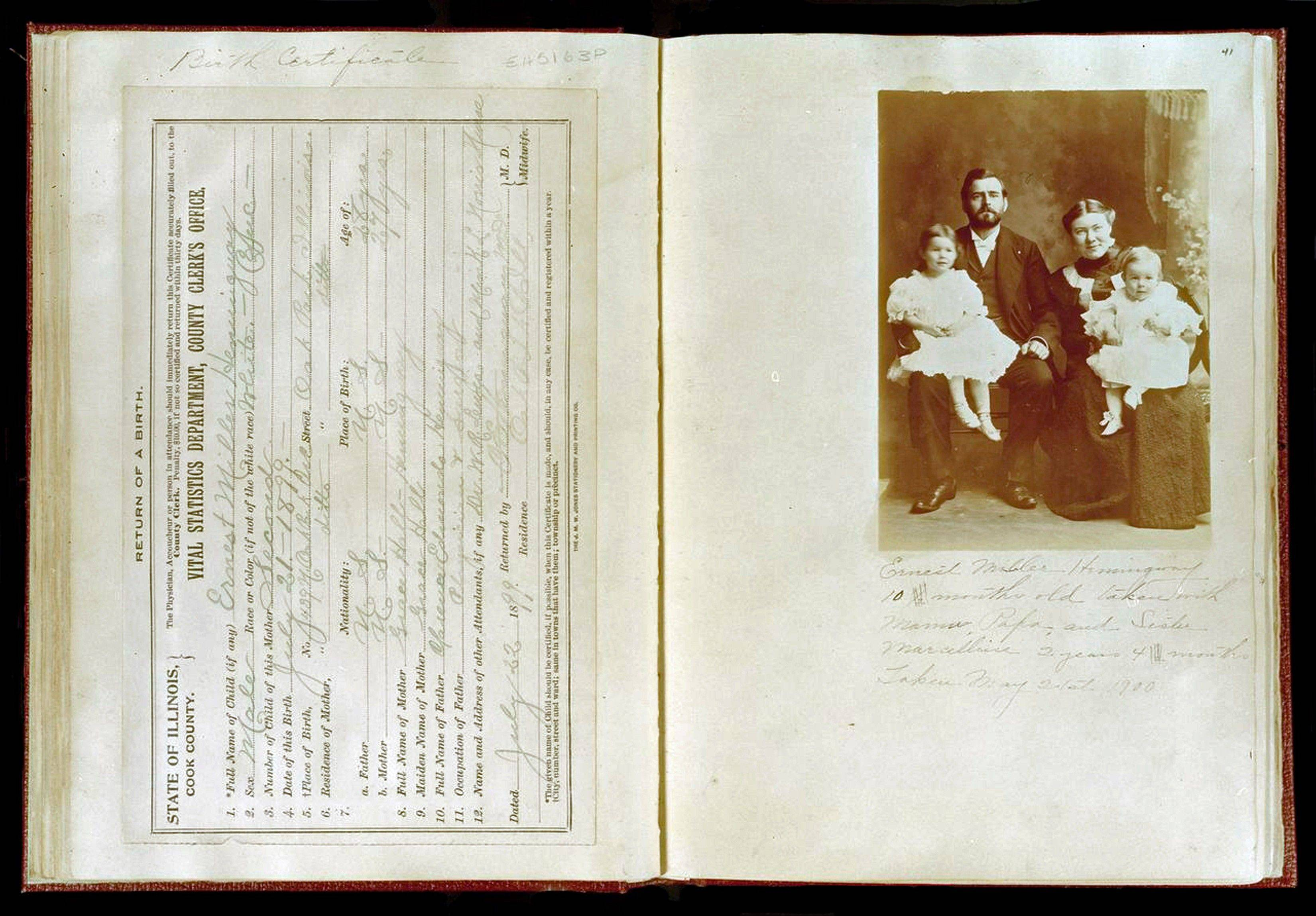 The birth certificate and family photograph of Ernest Hemingway from a scrapbook created by his mother, Grace Hall Hemingway, at the John F. Kennedy Presidential Library in Boston.