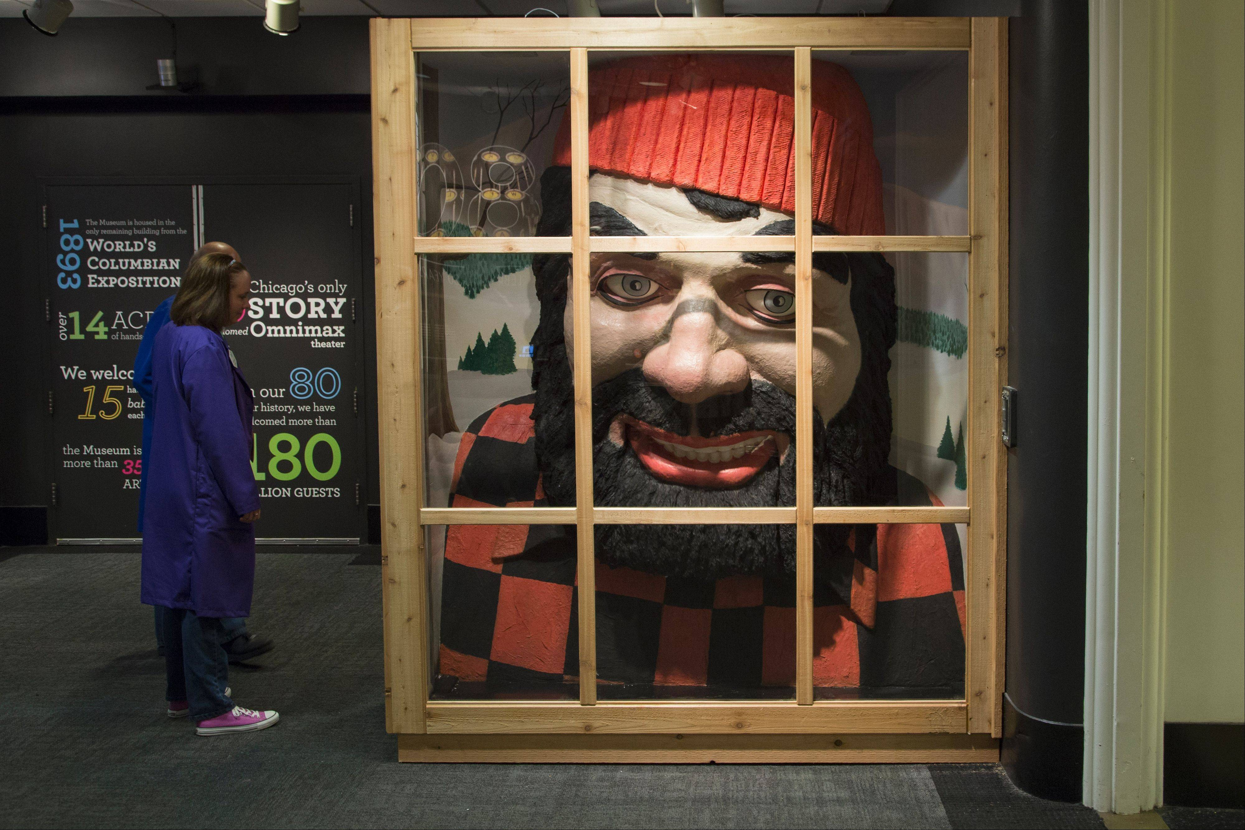 "The ""80 at 80"" exhibit features a replica of the Paul Bunyan head that was in the Museum of Science and Industry's ""World of Hardwoods"" exhibit, which opened in the 1950s."