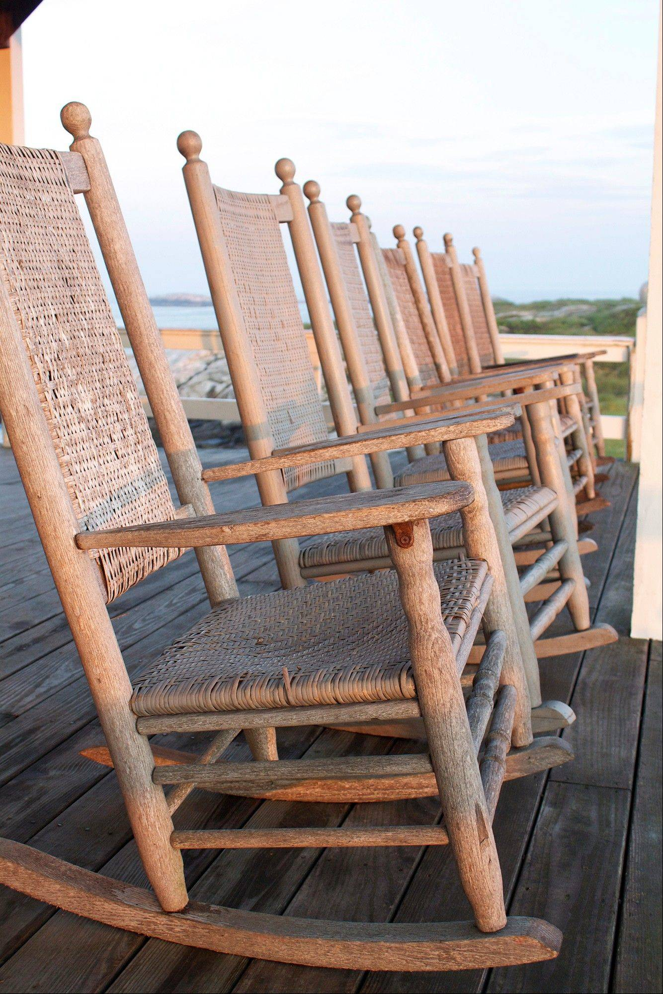 Rocking chairs sit on the veranda of the hotel on the Isles of Shoals Star Island in Rye, N.H.