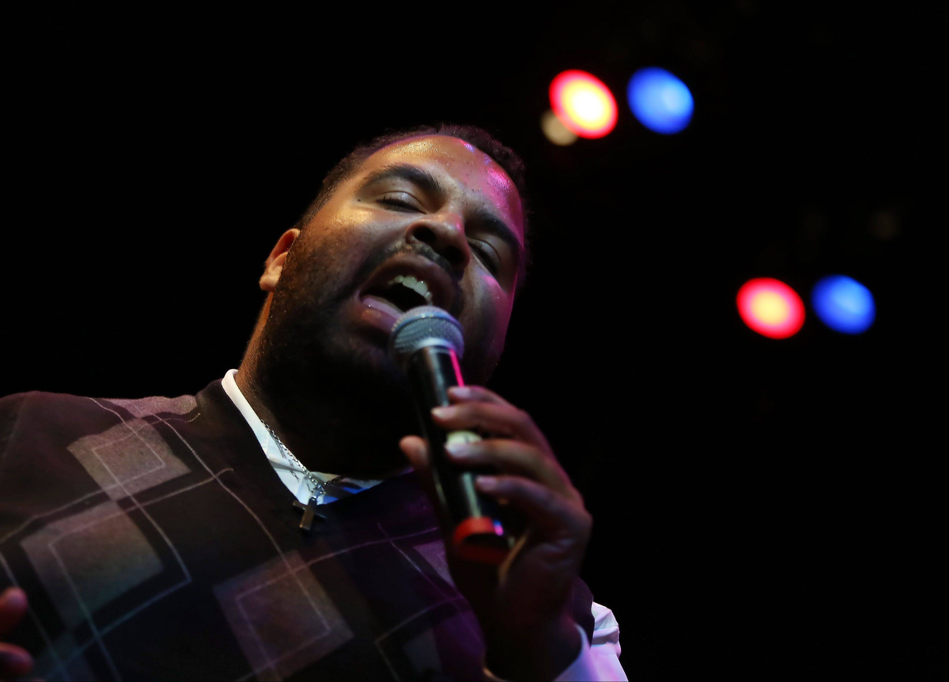 Andrew Johnston of Bourbonnais sings during Suburban Chicago's Got Talent competition Sunday night at the Metropolis Performing Arts Centre in Arlington Heights. The summer long talent contest is presented by the Daily Herald and sponsored by the Arlington Heights Chamber of Commerce.