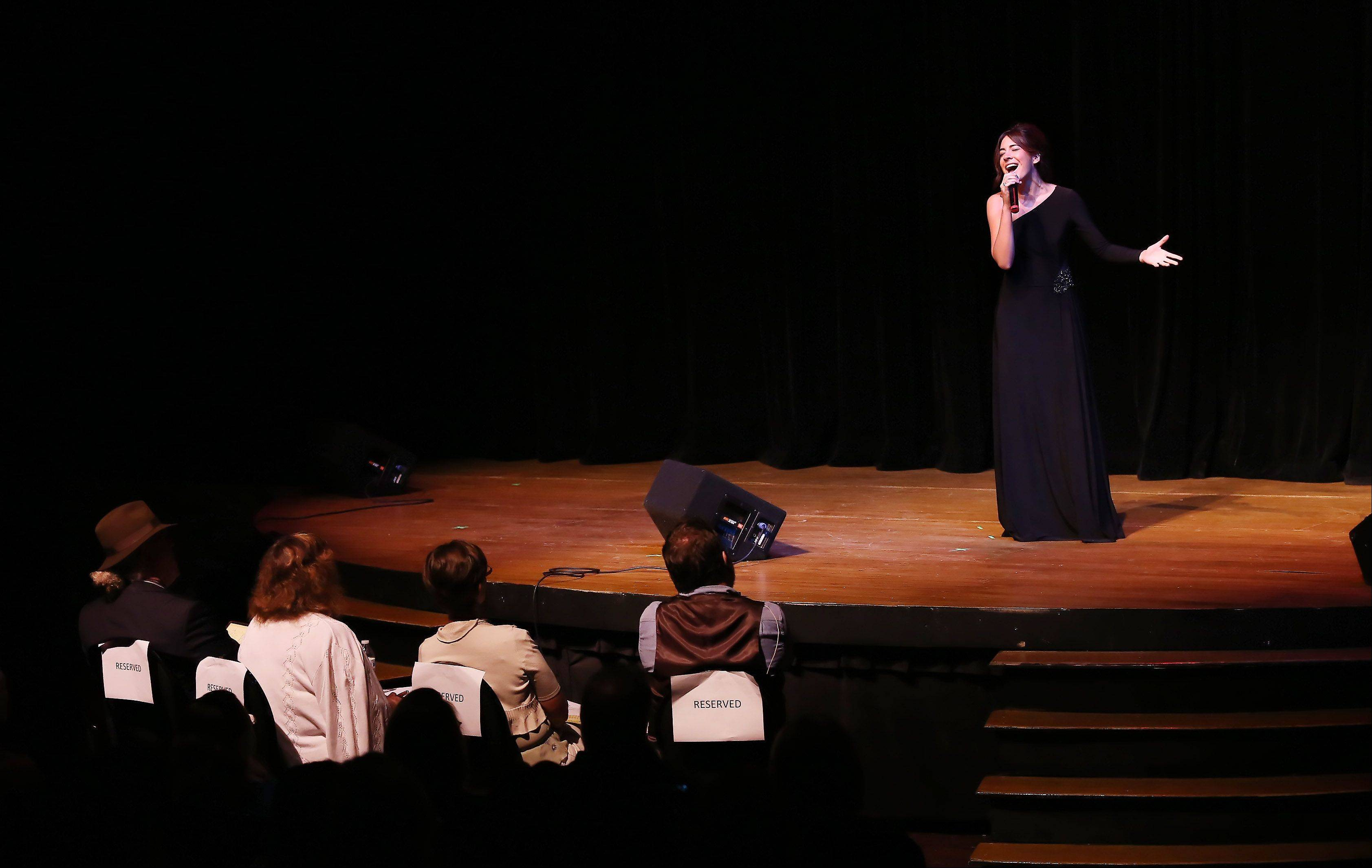Gabriela Francesca of Palatine performs for the judges during Suburban Chicago's Got Talent competition Sunday night at the Metropolis Performing Arts Centre in Arlington Heights. The summer long talent contest is presented by the Daily Herald and sponsored by the Arlington Heights Chamber of Commerce.