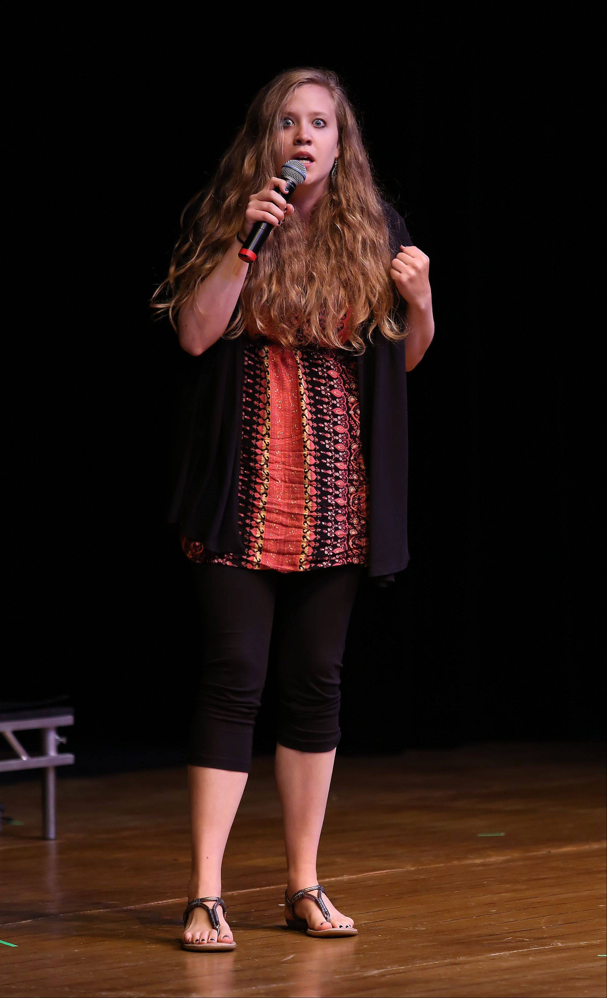 Comedienne Tiffany Streng of Arlington Heights performs her routine during Suburban Chicago's Got Talent competition Sunday night at the Metropolis Performing Arts Centre in Arlington Heights. The summer long talent contest is presented by the Daily Herald and sponsored by the Arlington Heights Chamber of Commerce.