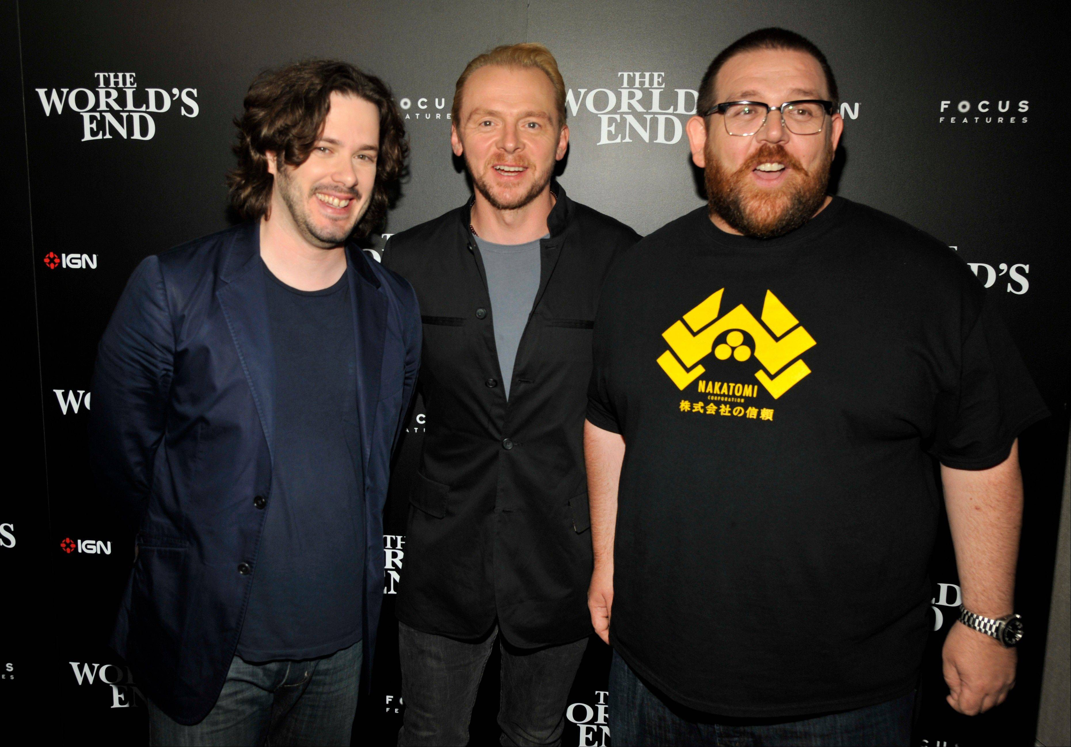 "From left, director Edgar Wright and stars Simon Pegg and Nick Frost attend the ""The World's End"" party Thursday at Comic-Con International in San Diego. ""The World's End"" opens Aug. 23 in theaters."