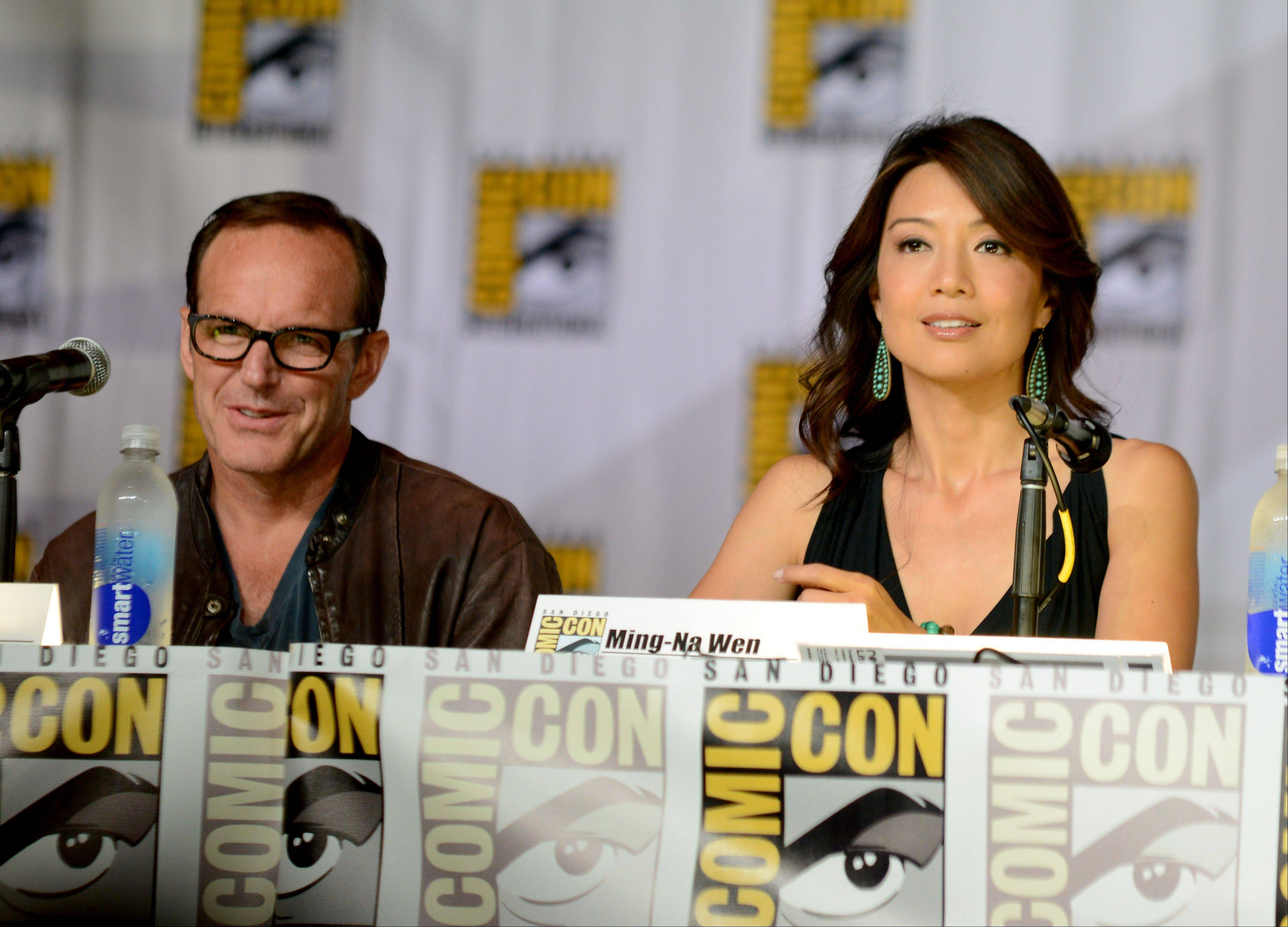 "Clark Gregg (Agent Phil Coulson), left, and Ming-Na Wen attend the ""Agents of S.H.I.E.L.D."" panel Friday at Comic-Con International in San Diego. The new ABC TV series, which begins in September, is an offshoot of the Marvel Comics film universe established in films like ""Iron Man"" and ""The Avengers."""