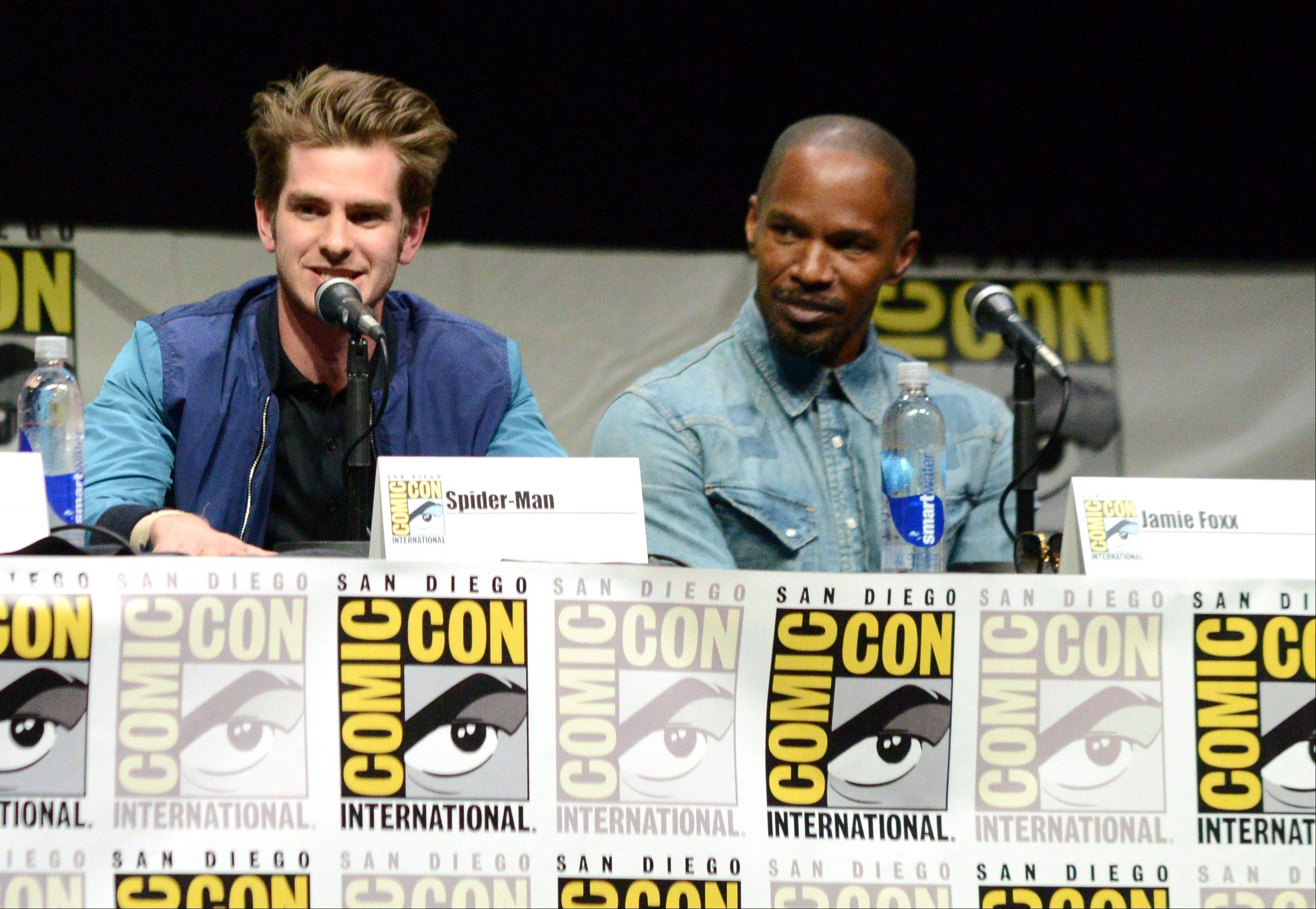 "Actors Andrew Garfield (Spider-Man), left, and Jamie Foxx (Electro) attend the ""The Amazing Spider-Man 2"" panel Friday at Comic-Con International in San Diego."