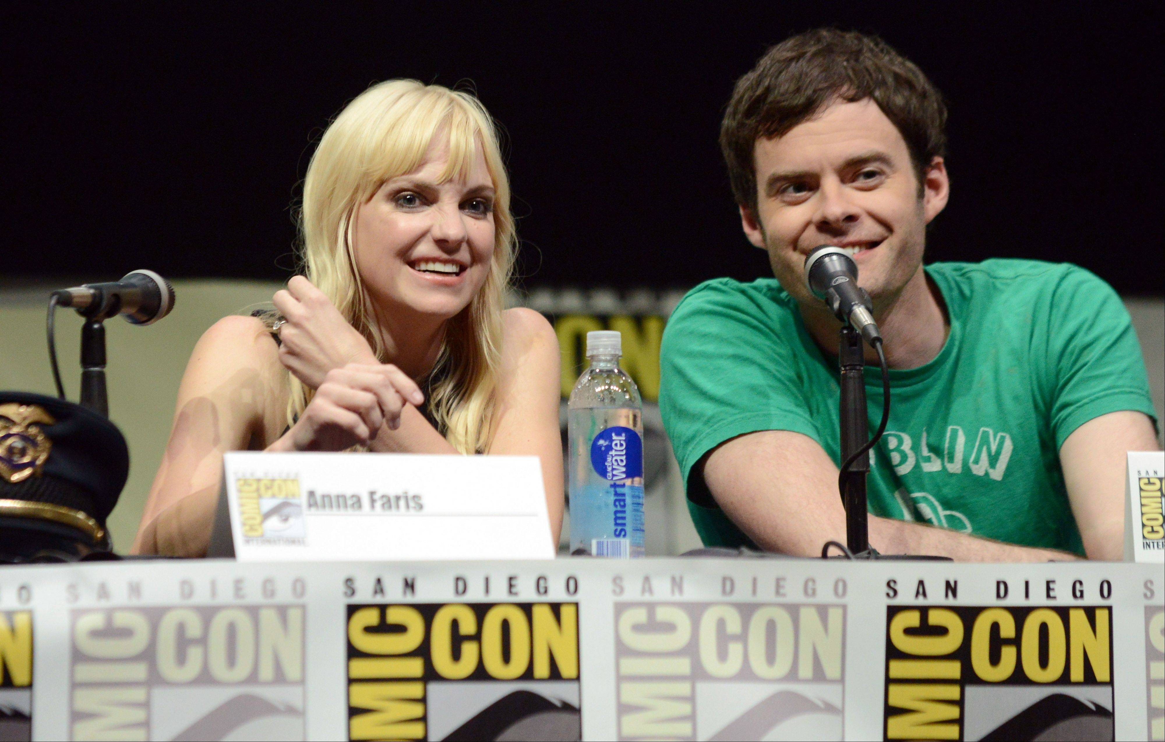 "Anna Faris, left, and Bill Hader participate in the ""Cloudy with a Chance of Meatballs 2"" panel on Day 3 of Comic-Con International on Friday, July 19, 2103 in San Diego, Calif. (Photo by Jordan Strauss/Invision/AP)"