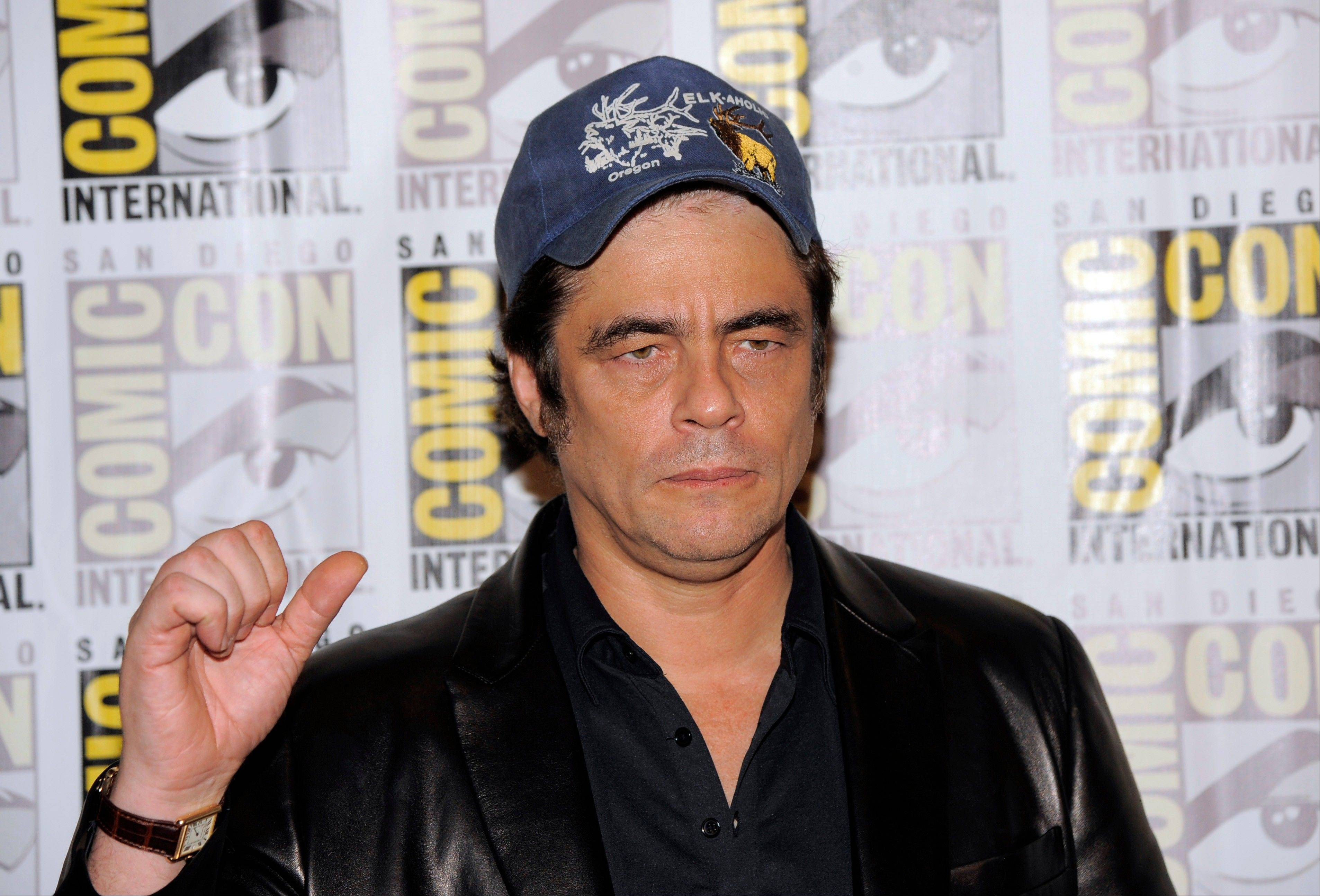 "Benicio Del Toro arrives Saturday at the ""Guardians of the Galaxy"" panel at Comic-Con International in San Diego. Del Toro will play The Collector in the new Marvel Comics adaptation, which hits theaters Aug. 1, 2014."
