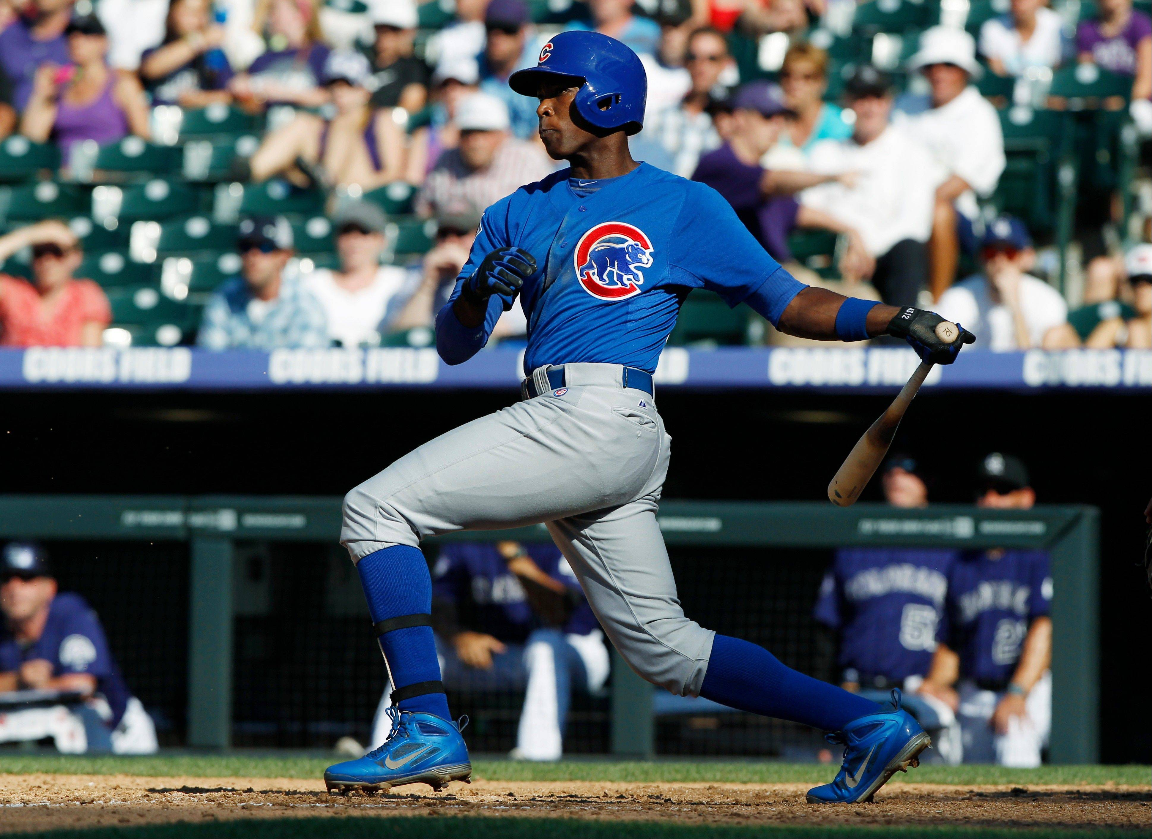 Chicago Cubs outfielder Alfonso Soriano grounds out to drive in a run against the Colorado Rockies in the ninth inning of the Rockies' 4-3 victory on Sunday.