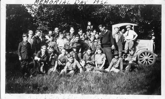 Boy Scouts from Troop 1 gathered for a Memorial Day outing in 1926