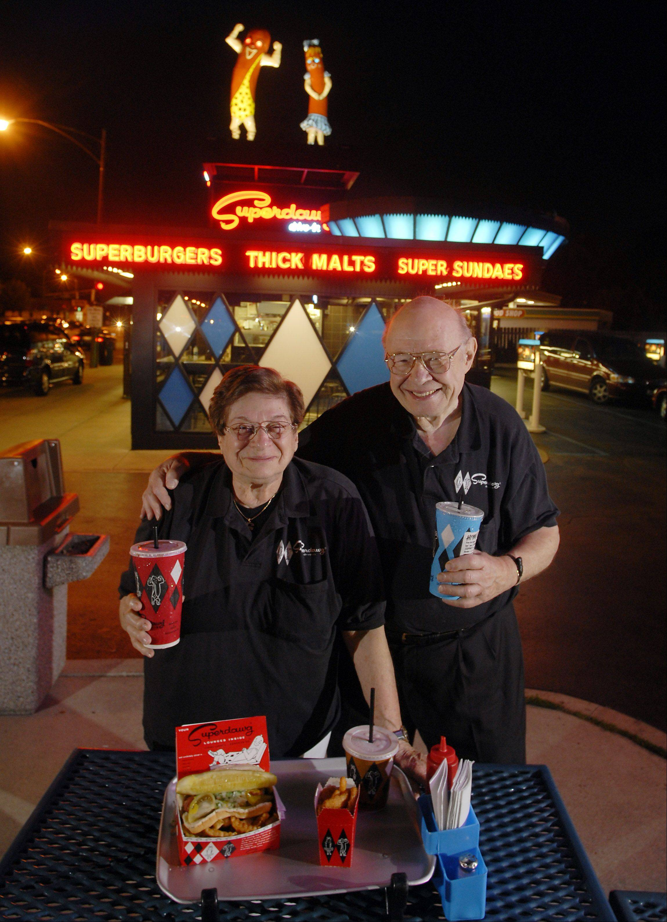 Founders of Superdawg, Maurie and Flaurie Berman, opened the original restaurant in Chicago in 1948.