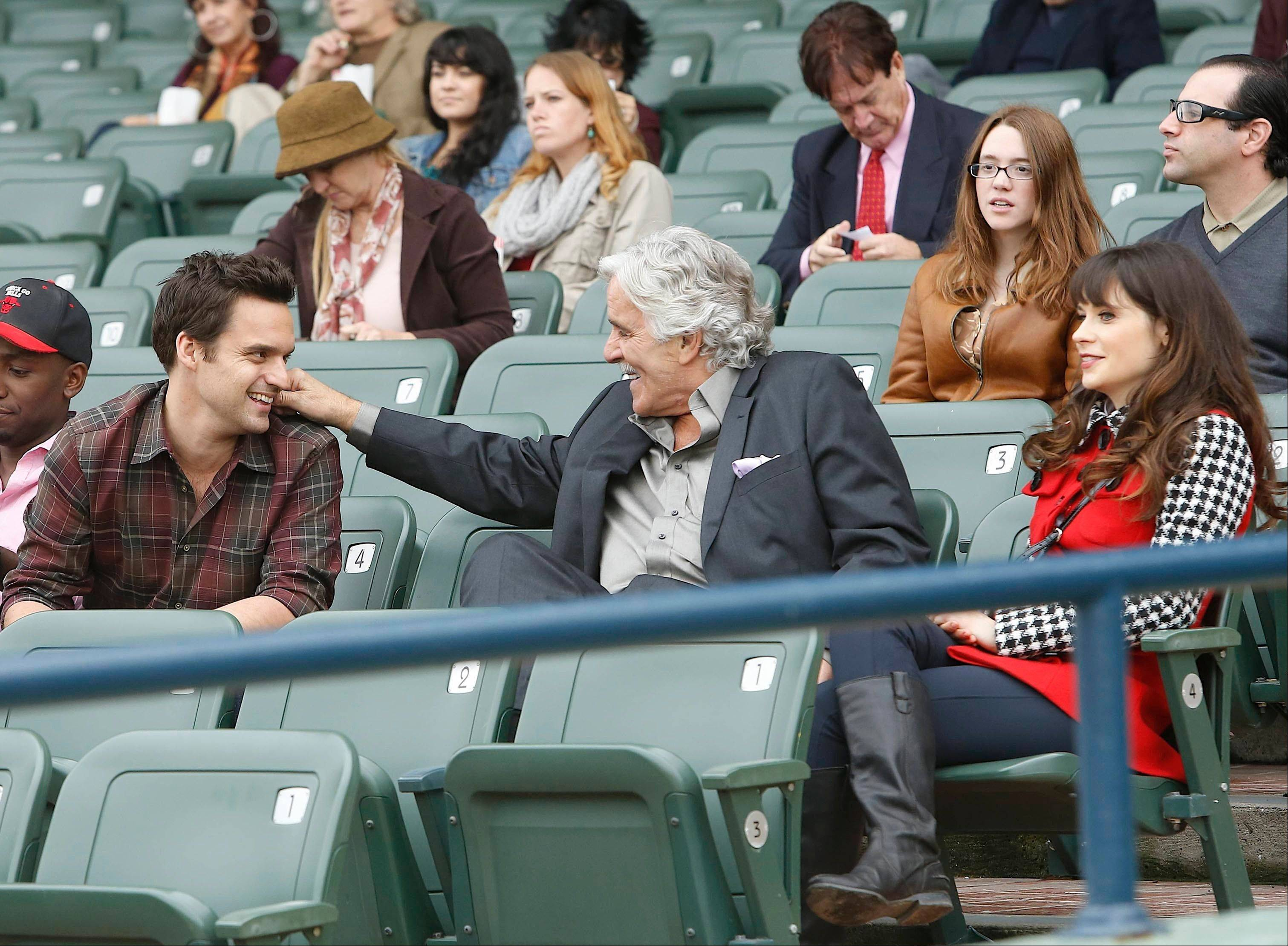"Jake Johnson, Dennis Farina and Zooey Deschanel in a scene from ""New Girl."" Farina died suddenly on Monday in Scottsdale, Ariz., after suffering a blood clot in his lung. He was 69."