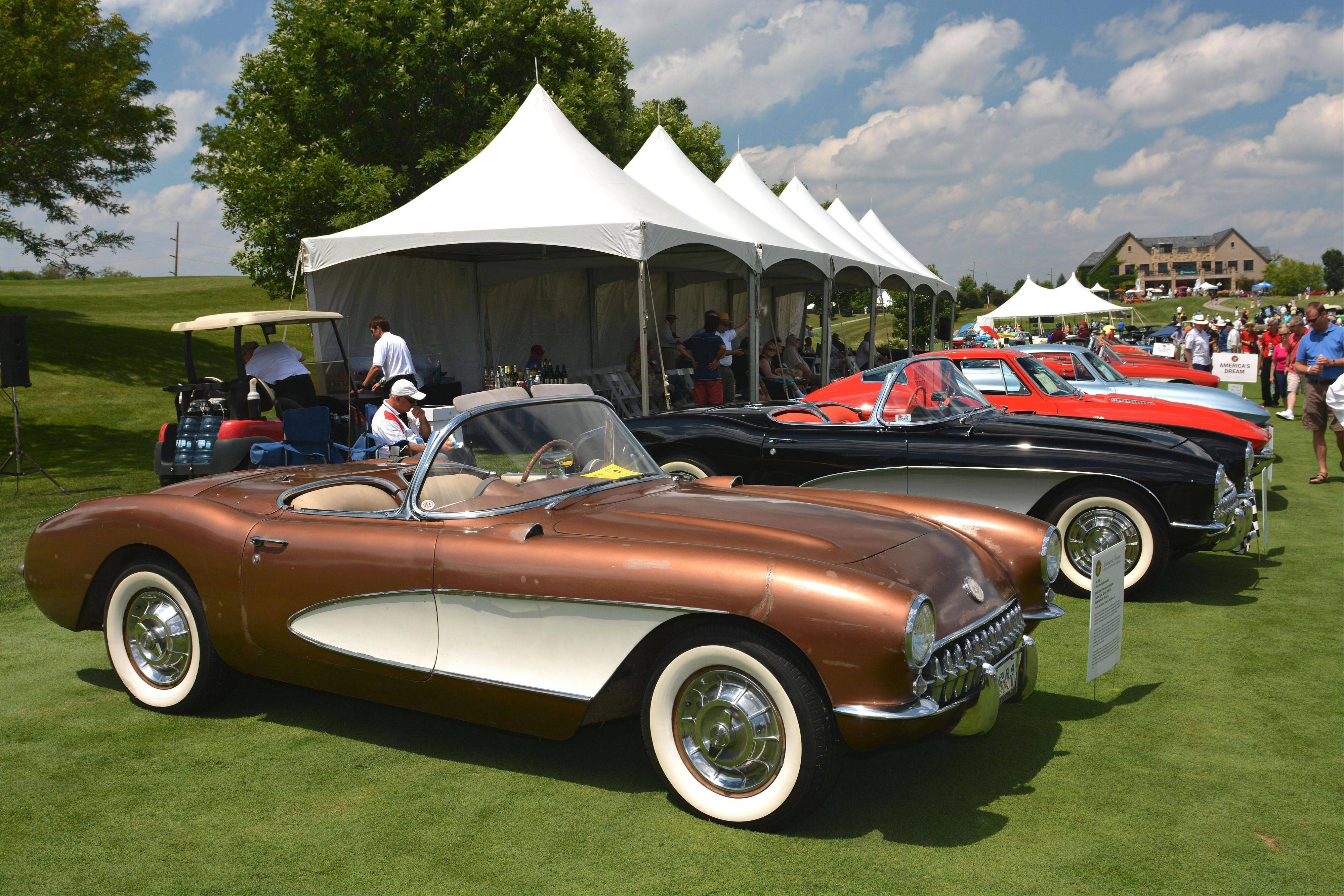 A designated display area was organized to mark the 50th anniversary of the Chevrolet Corvette.