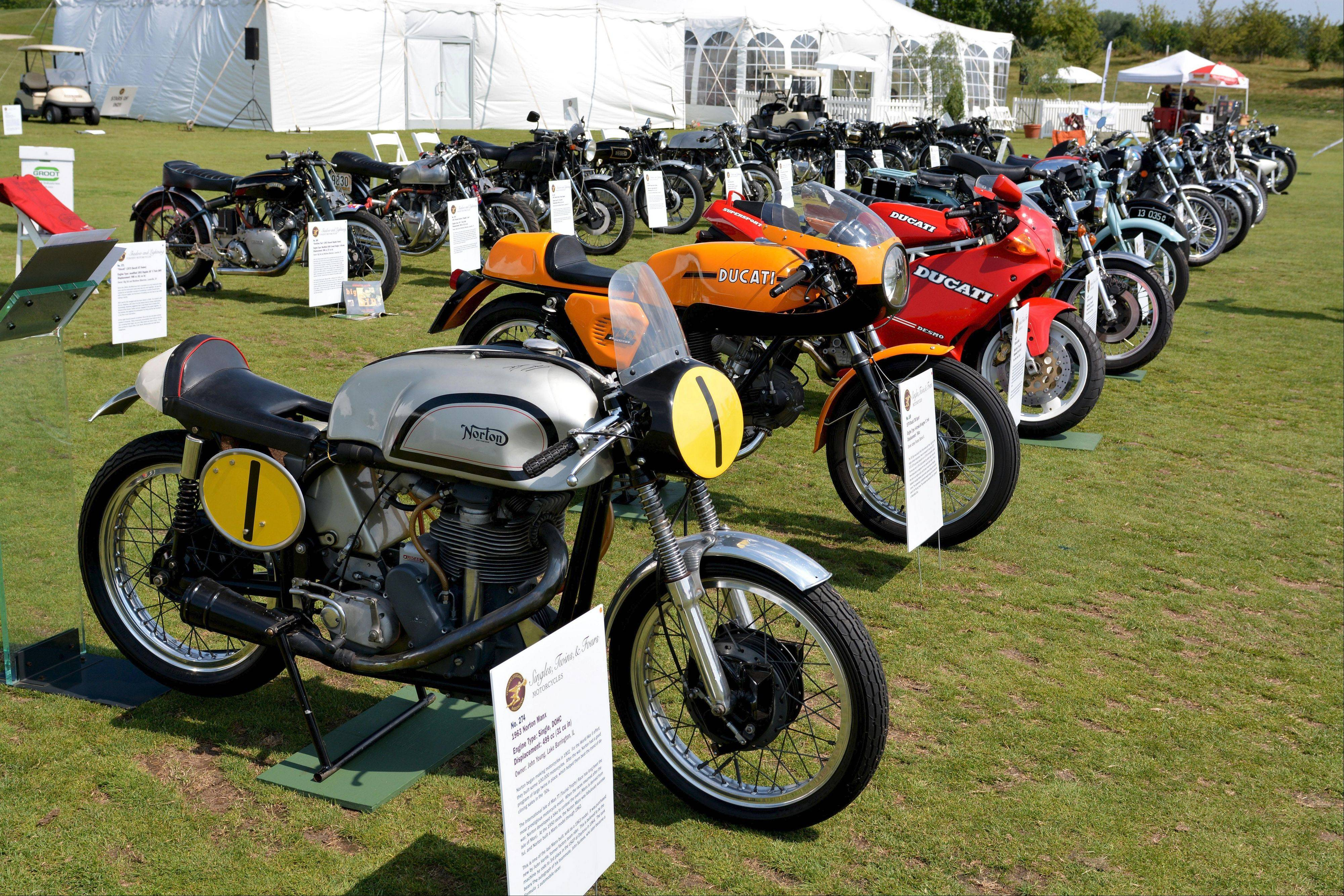 A number of vintage motorcycles were entered for judging in the show.