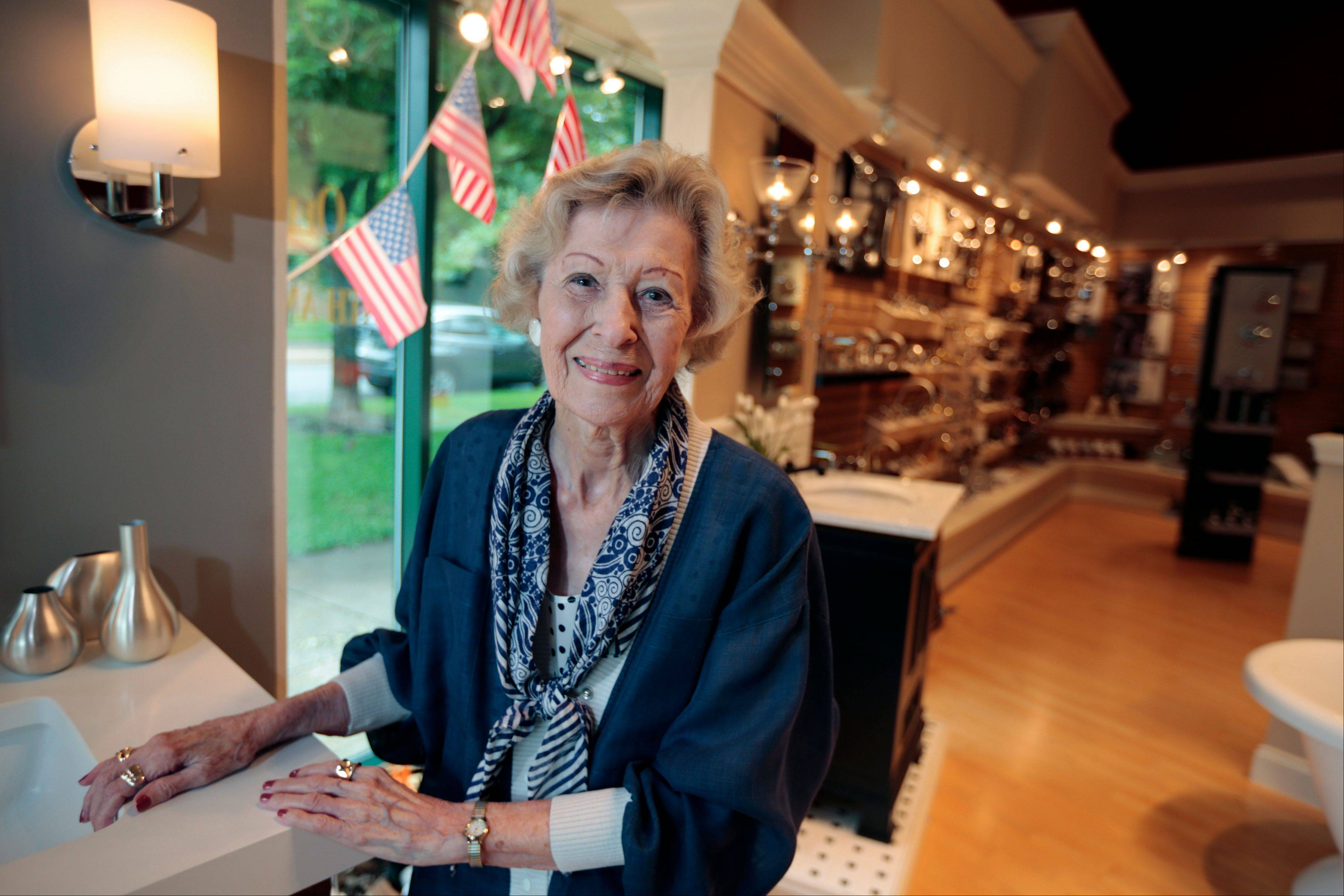 June Springer, who just turned 90, works as a receptionist at Caffi Contracting Services in Alexandria, Va. S