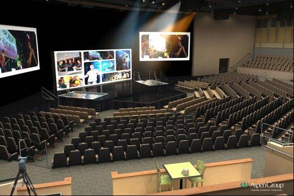 "An 18,000-square-foot auditorium with seating for 1,200 people will be added to ""The Yellow Box"" campus of Community Christian Church at 1635 Emerson Lane in Naperville. The auditorium will become the church's primary worship space instead of its current ""gymatorium."""