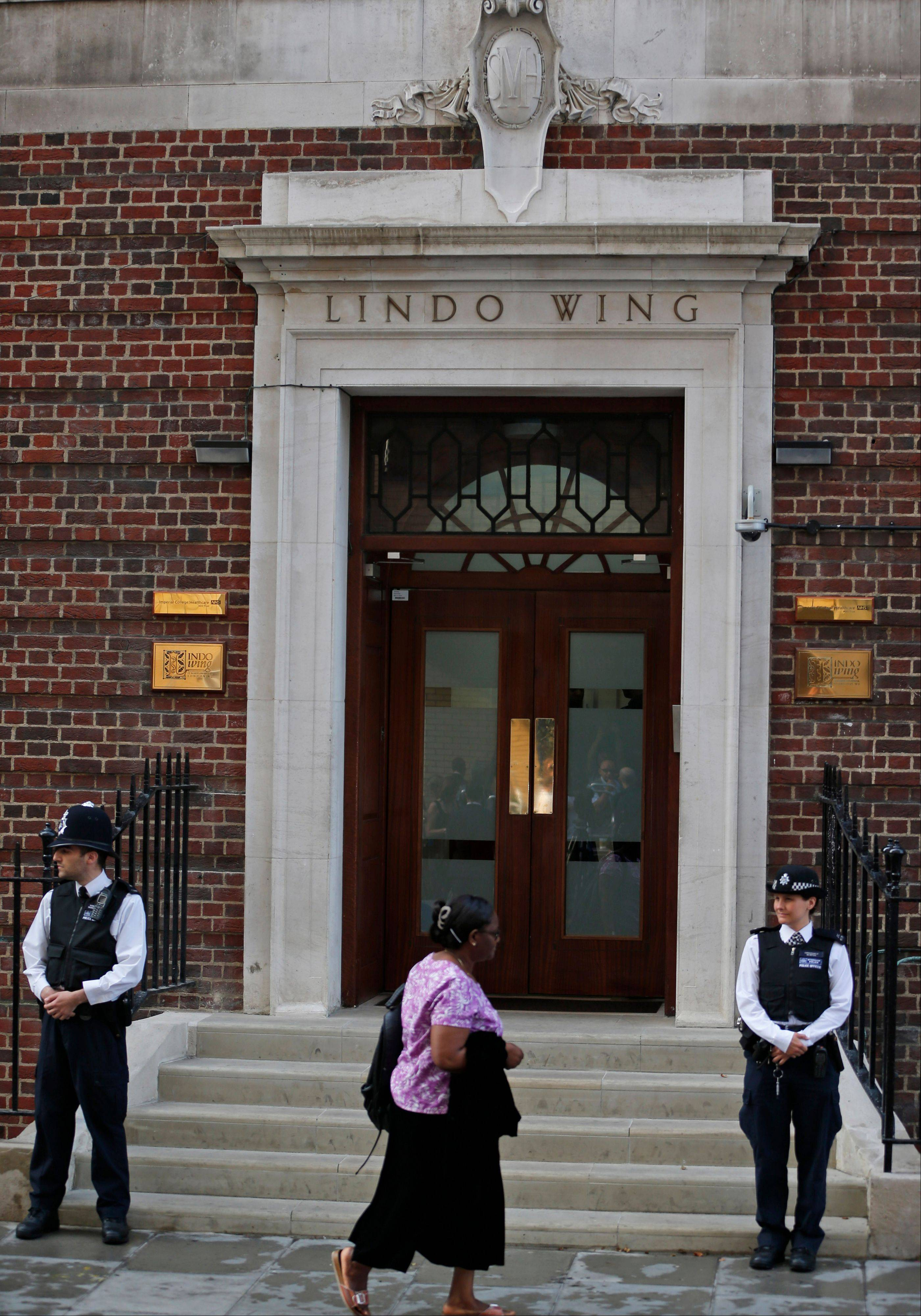 This is scene outside St. Mary's Hospital's exclusive Lindo Wing in London on Monday, before Prince William's wife, Kate, Duchess of Cambridge, gave birth to a son.