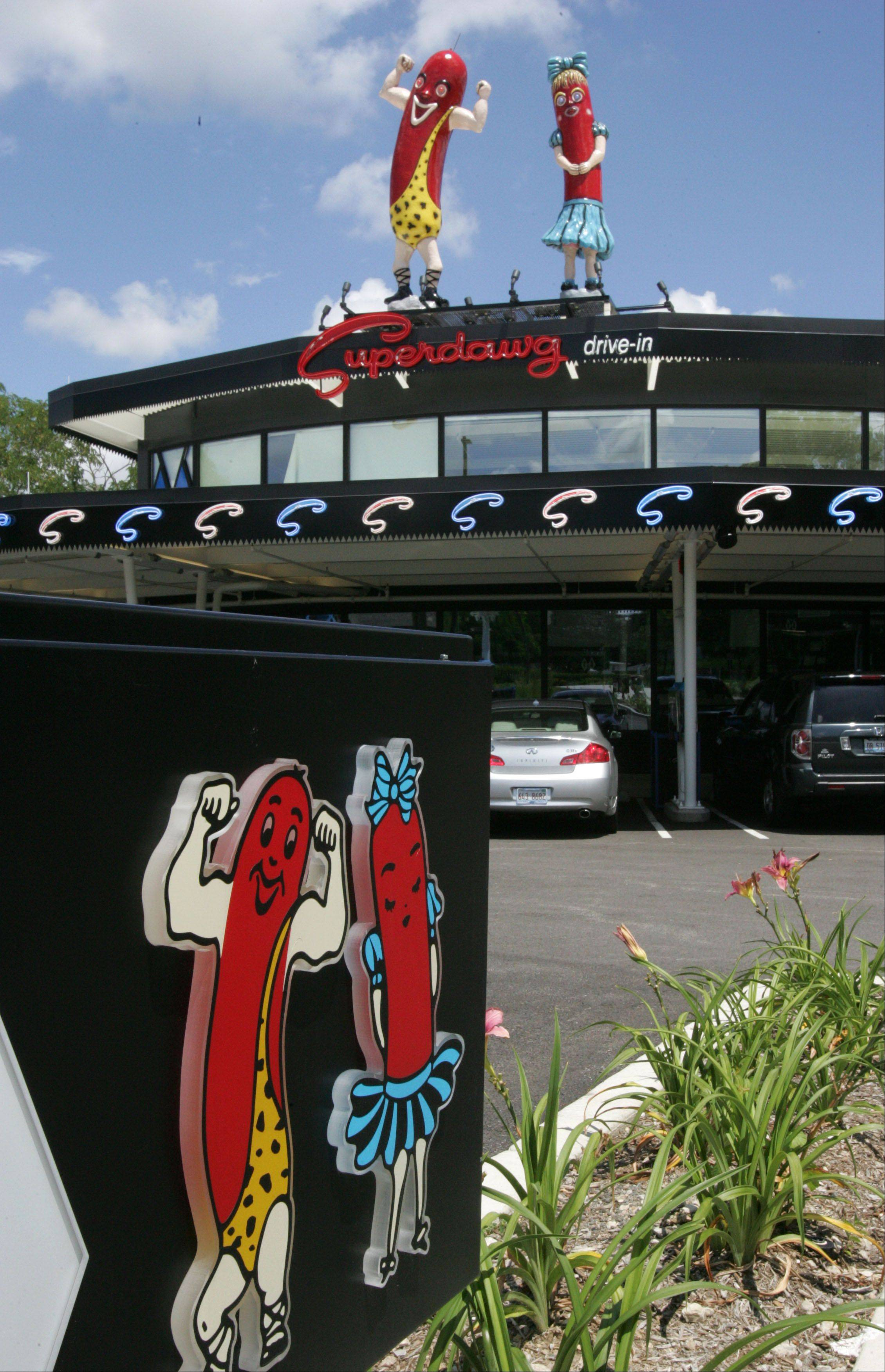 The two hot dogs top the Superdawg Drive-In in Wheeling.