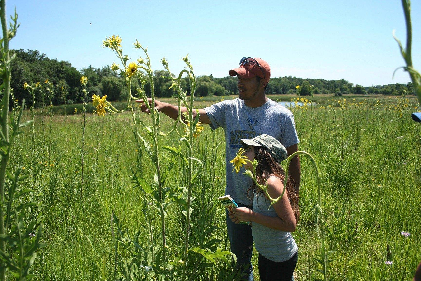 Joel Rangel pointing out a native plant to one of the kids.