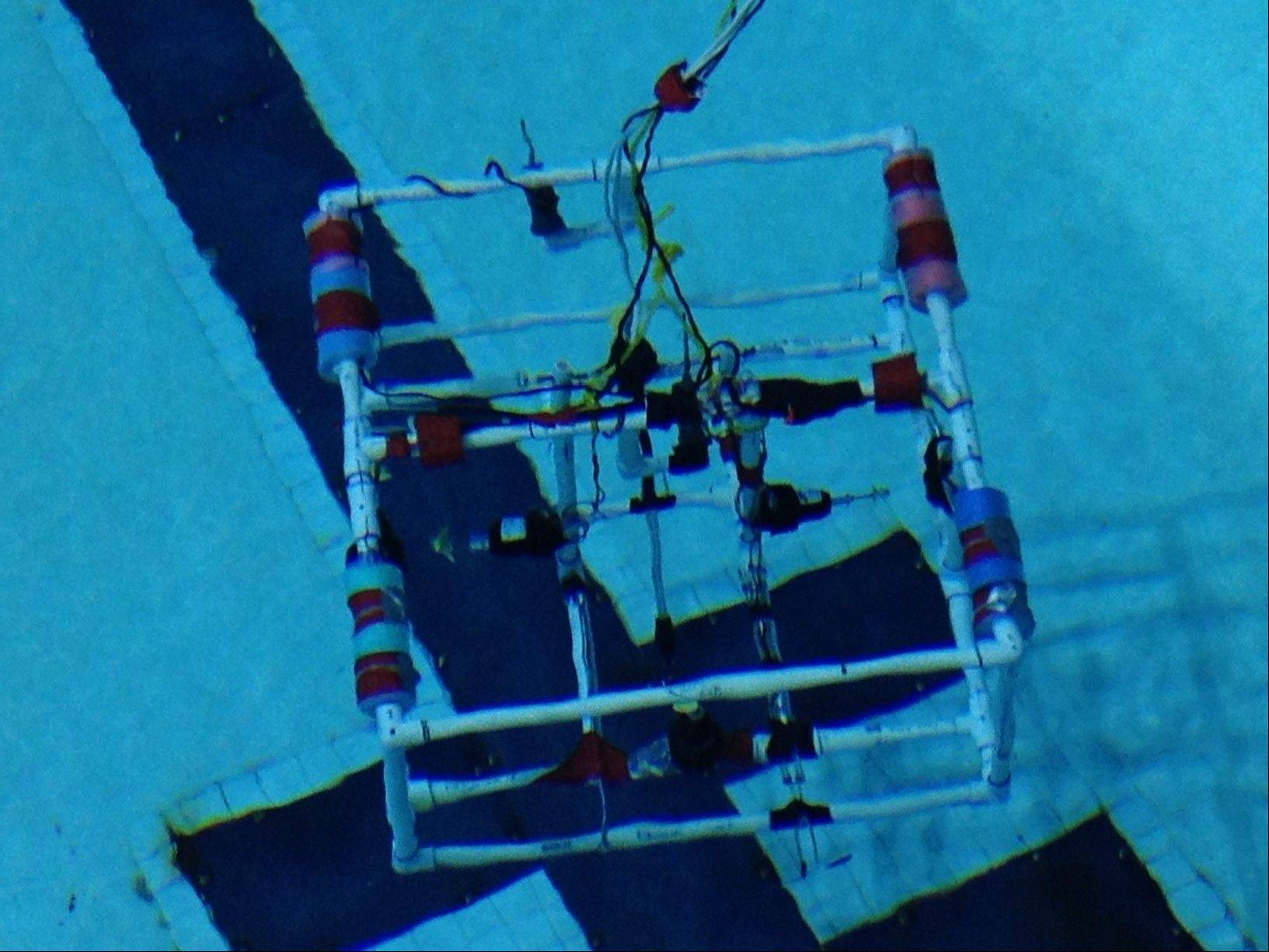 The underwater remotely operated vehicle built by the six members of Naperville North High School's marine engineering team cost $200 and featured such materials as PVC piping, duct tape, pool noodles, wiring and a motor.