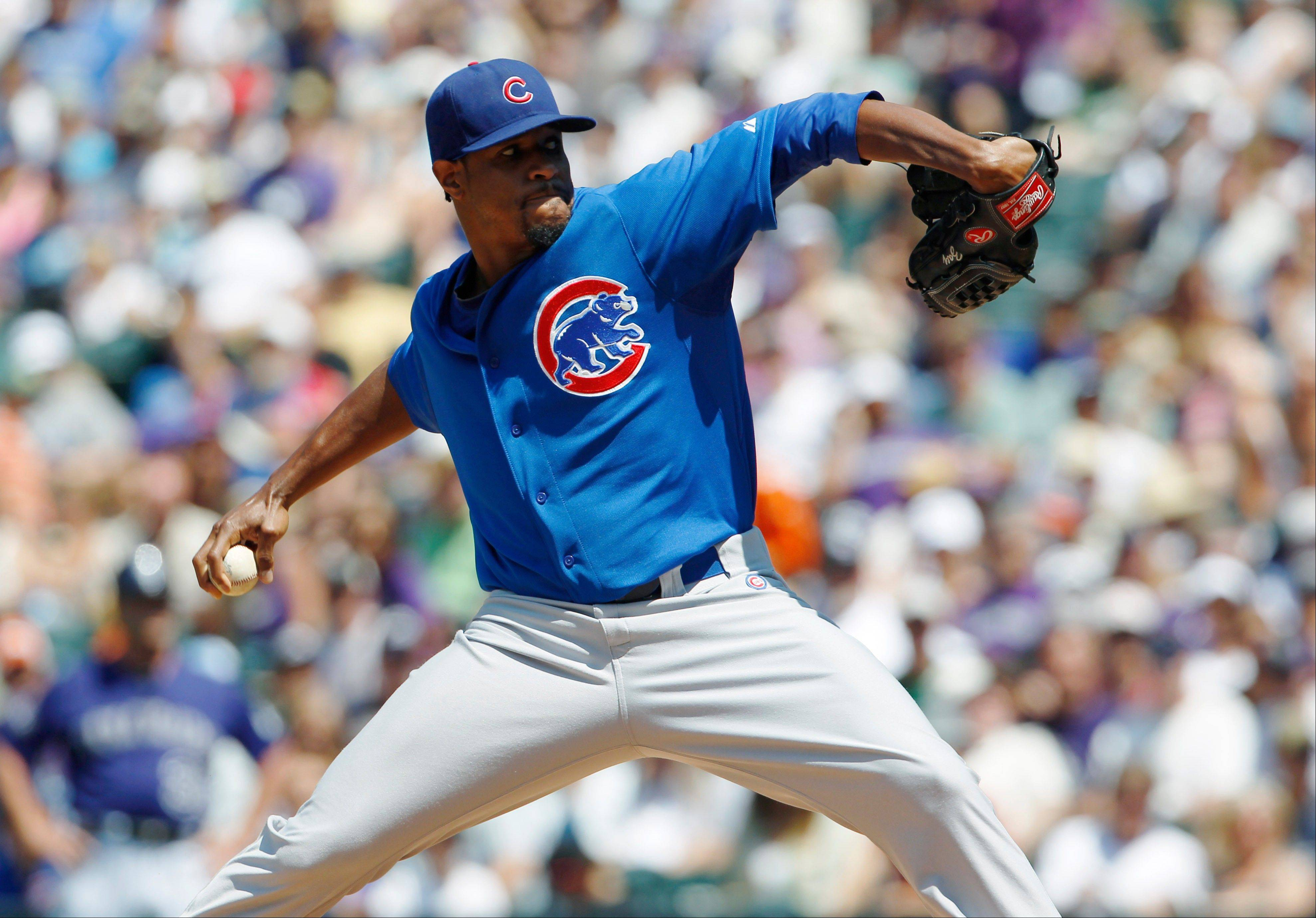 Cubs starting pitcher Edwin Jackson works against the Colorado Rockies in the first inning of Sunday's game in Denver.