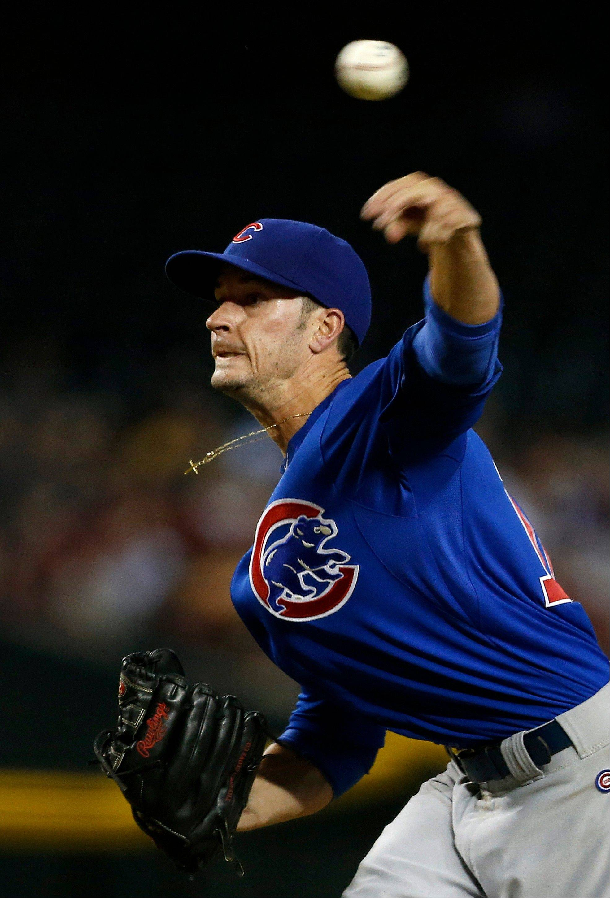 The Cubs' Chris Rusin retired the first seven Diamondbacks he faced Monday in Phoenix.