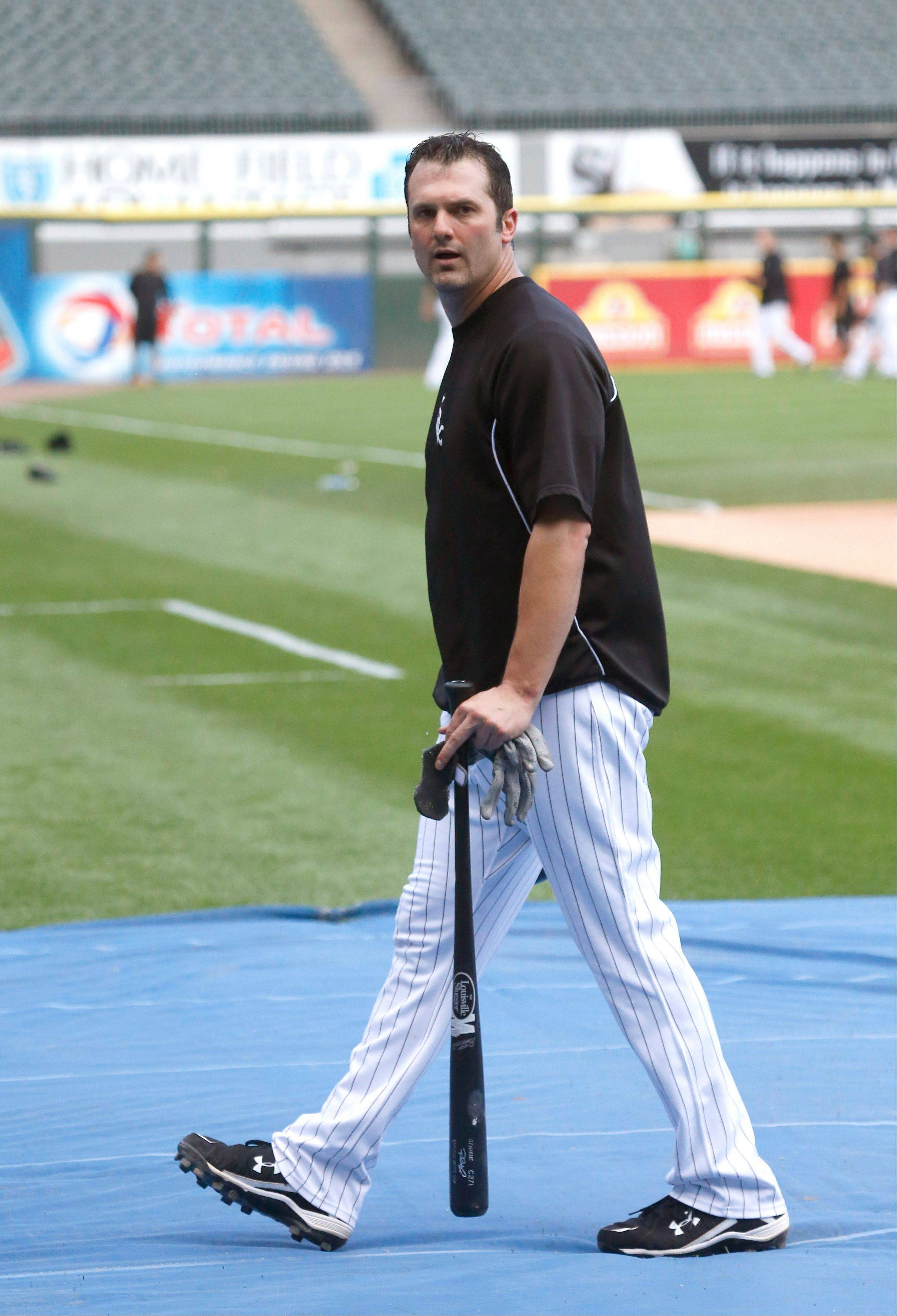 White Sox first baseman/DH Paul Konerko heads to the dugout during batting practice before Monday night's game against the Tigers.
