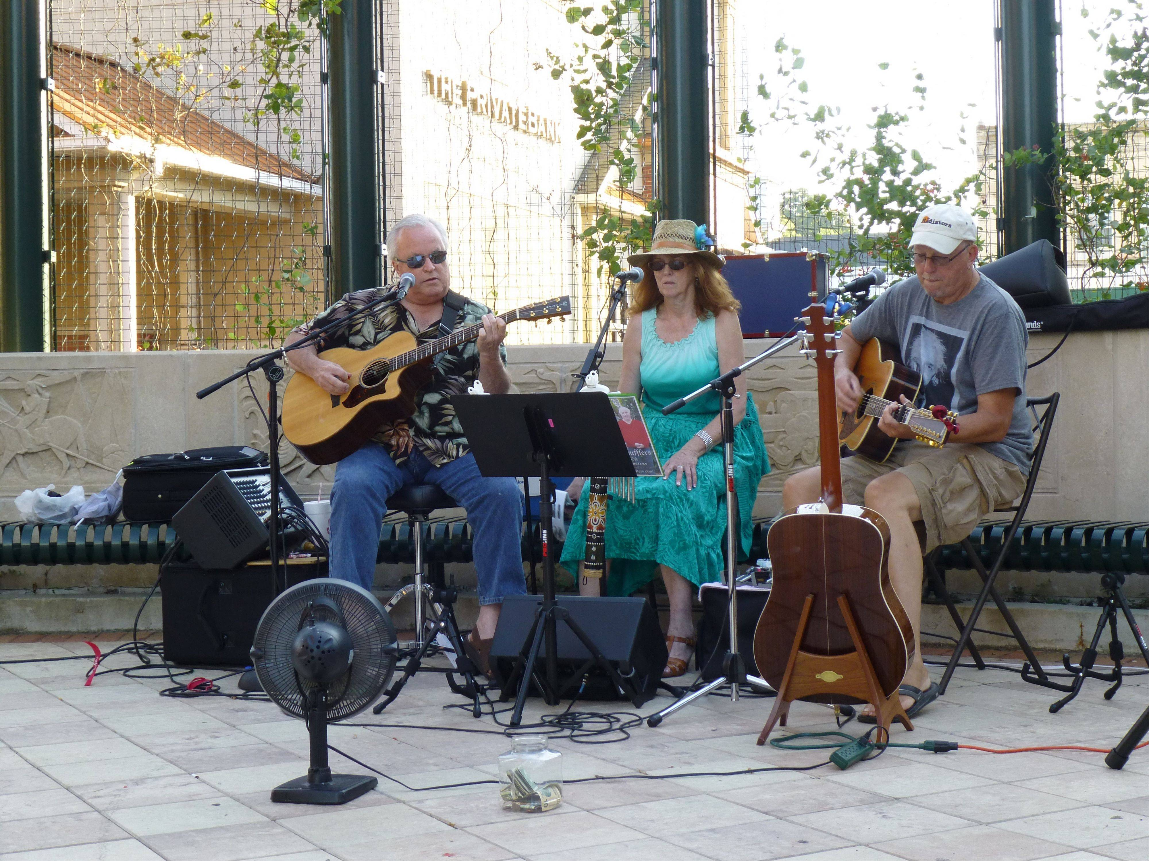"The Soft Shoe Shuffers, a band from Rockford, performed July 12 as part of the Downtown St. Charles Partnership's new program ""STC Live!"""