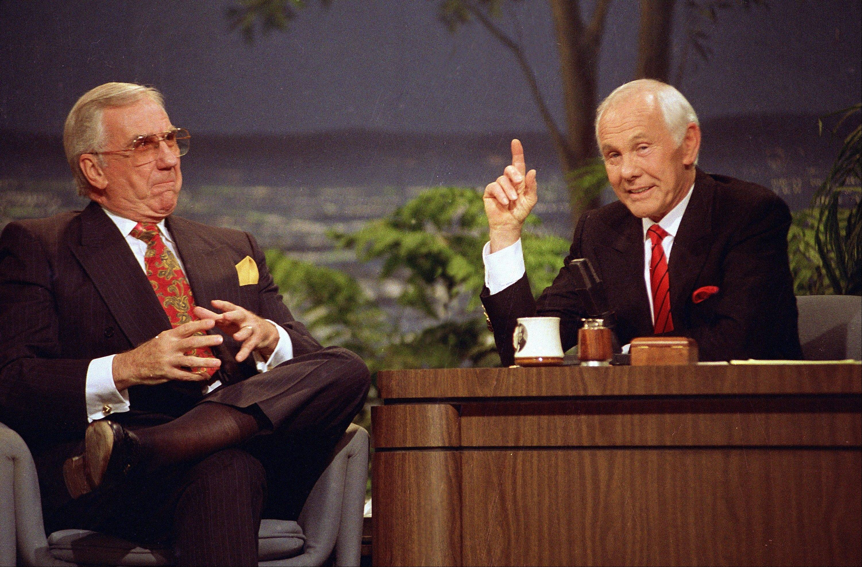 "Talk show host Johnny Carson, right, appears with the show's announcer Ed McMahon during the final taping of the ""Tonight Show"" in Burbank, Calif. Content from ""The Tonight Show Starring Johnny Carson"" is available for digital download."