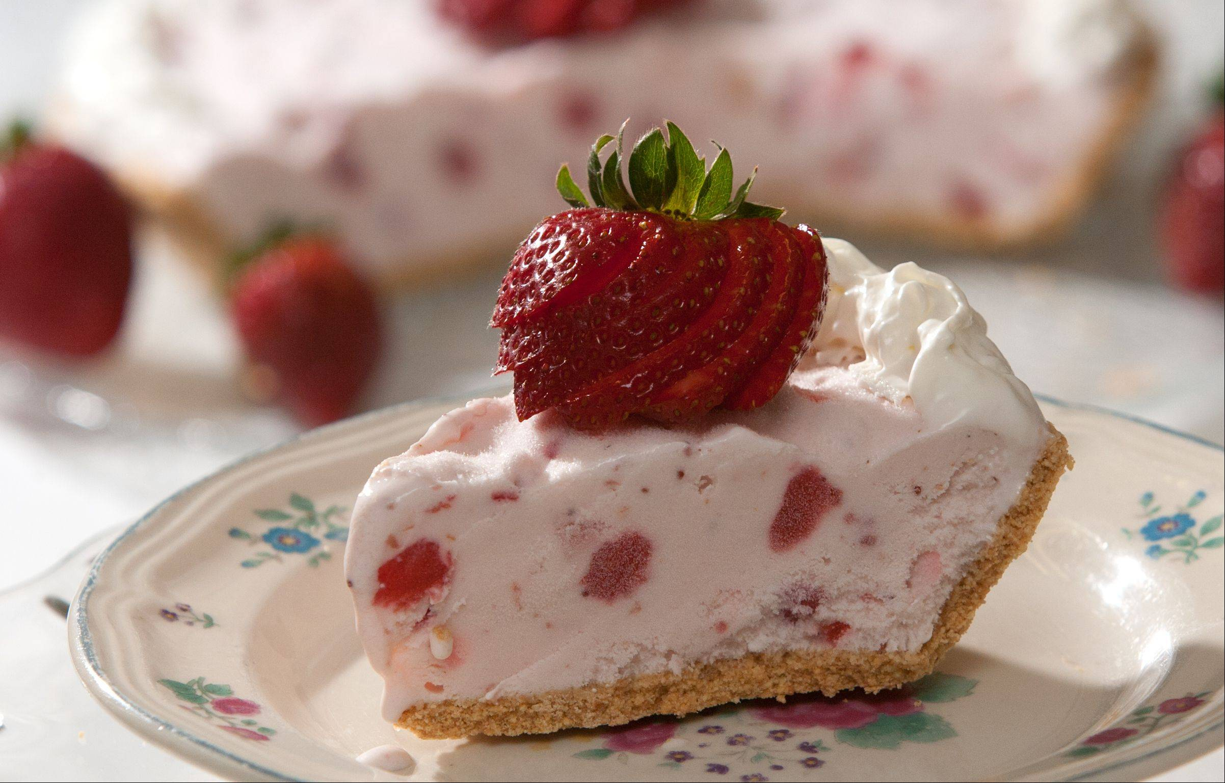 Strawberry Ice Cream and Greek Yogurt Pie