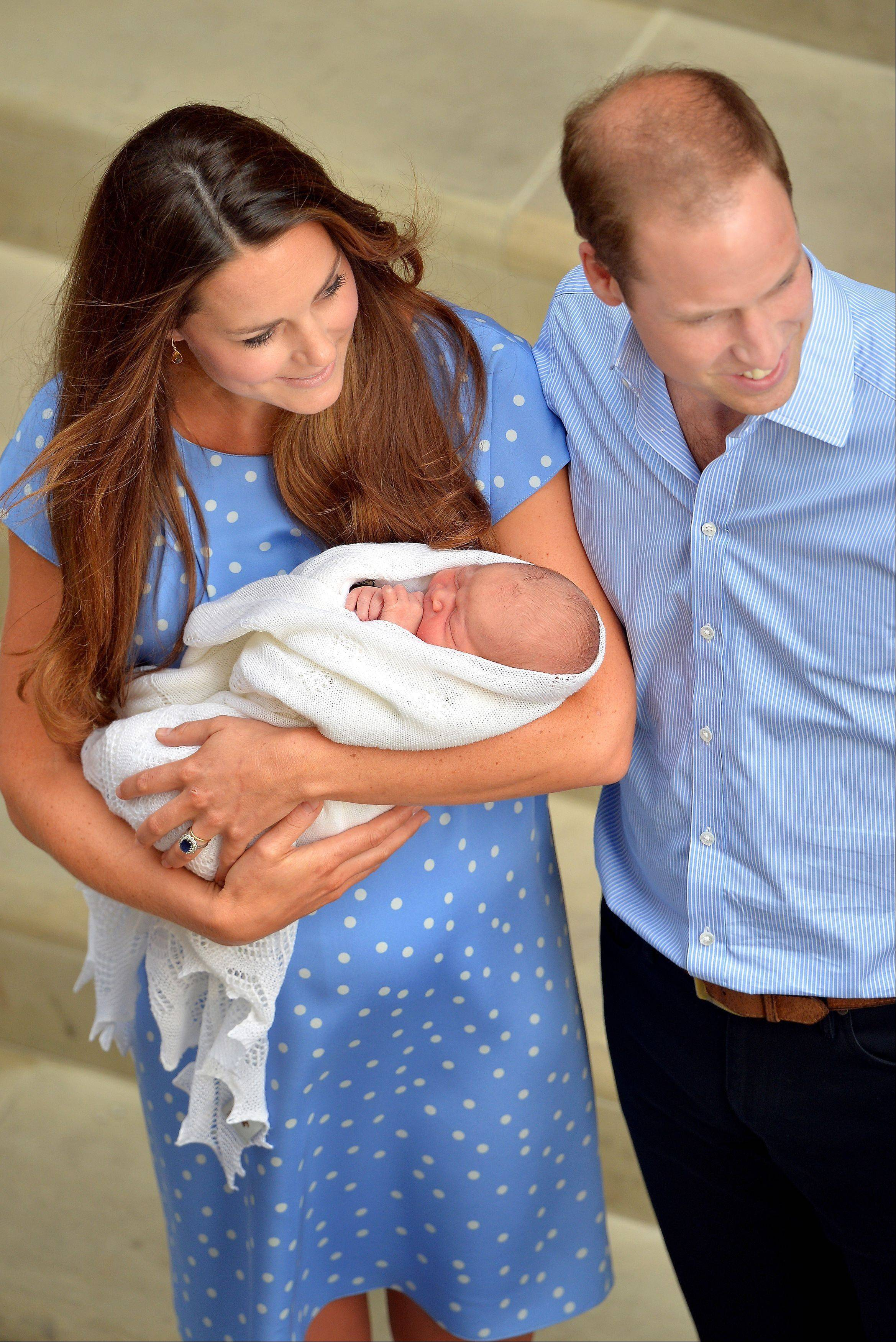 Safe in the hands of the Duchess of Cambridge, the Royal couple and their son who was born Monday, leave the Lindo Wing of St Mary�s Hospital in west London.