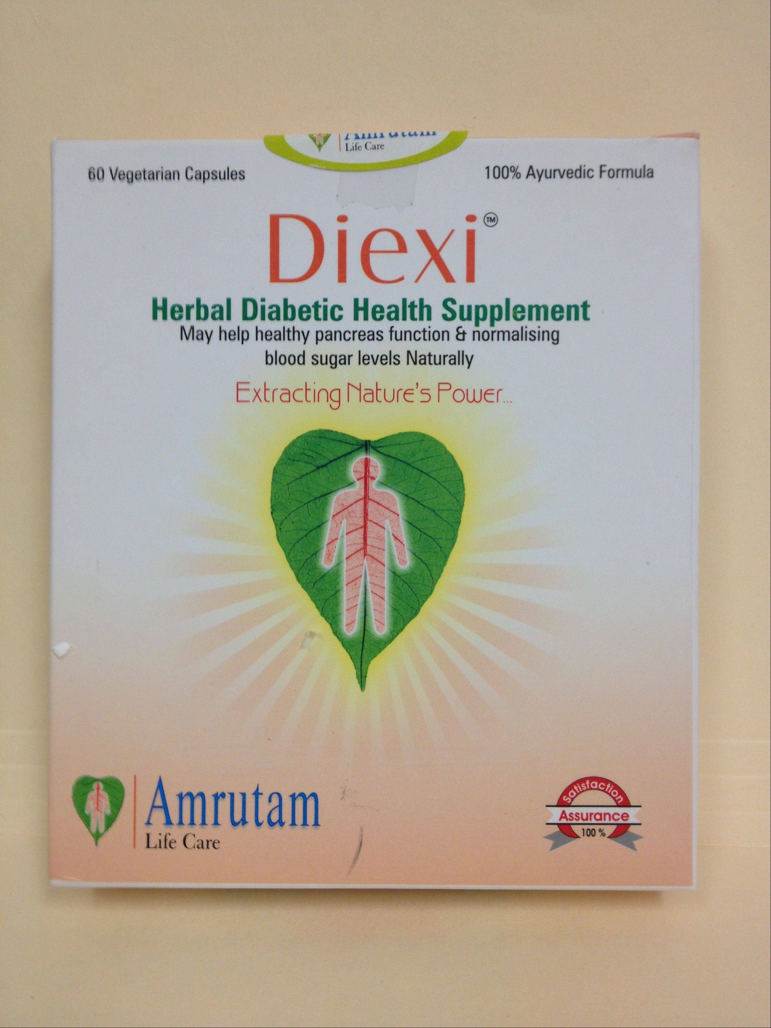 "This undated photo provided by The Food and Drug Administration (FDA) shows Diexi, which is sold as a traditional Indian ""herbal formula,"" which actually contains metformin, the most common prescription drug used to treat diabetes. The FDA sent warning letters to 15 companies, including Amrutam Life Care, ordering them to stop selling diabetes treatments such as Diexi which violate U.S. drug laws."