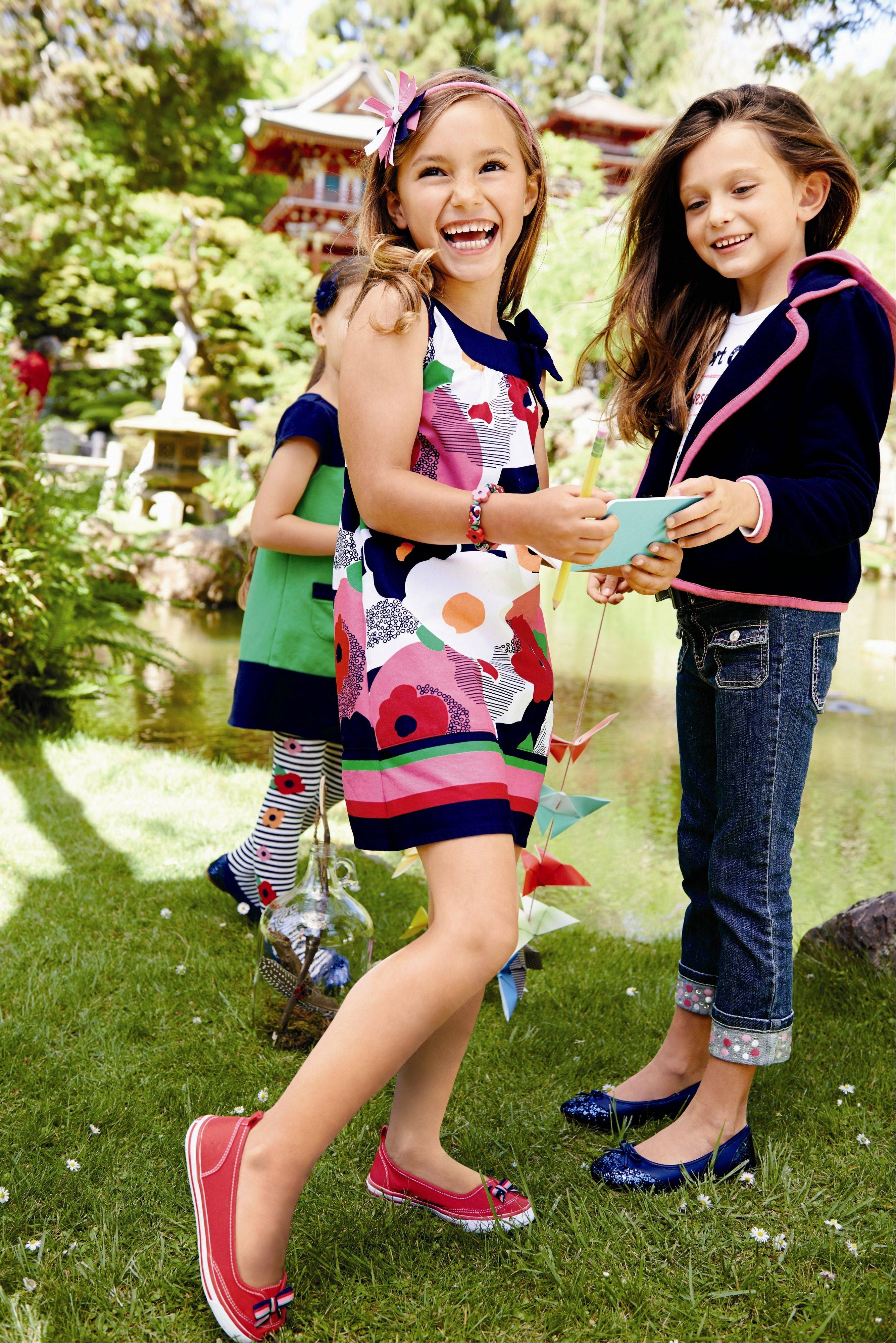 Floral print dresses are great first-day outfits for girls in grade school. $34.95 at Gymboree, gymboree.com