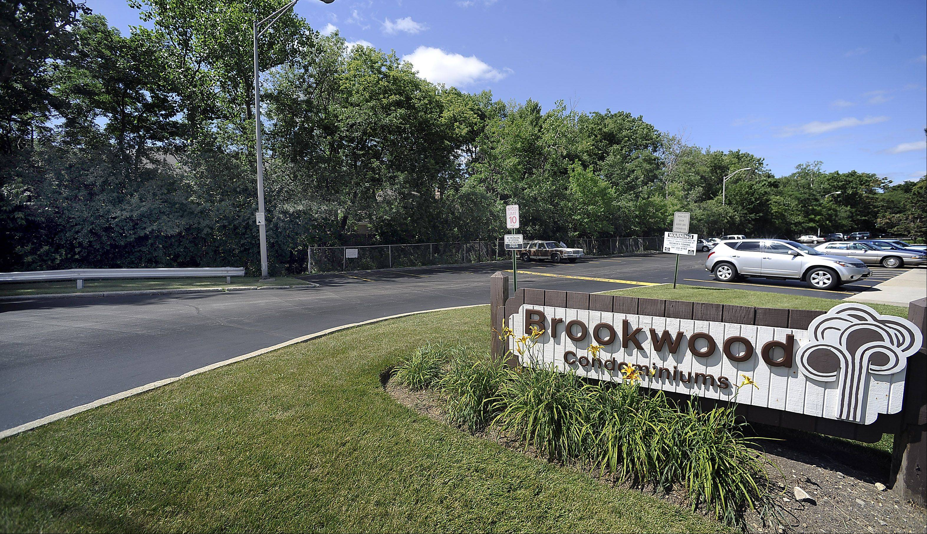 Rolling Meadows will condemn the land behind the Brookwood Condominiums if the community's residents don't agree on a flood prevention project. The land in question is located along the tree line hiding a creek bed.