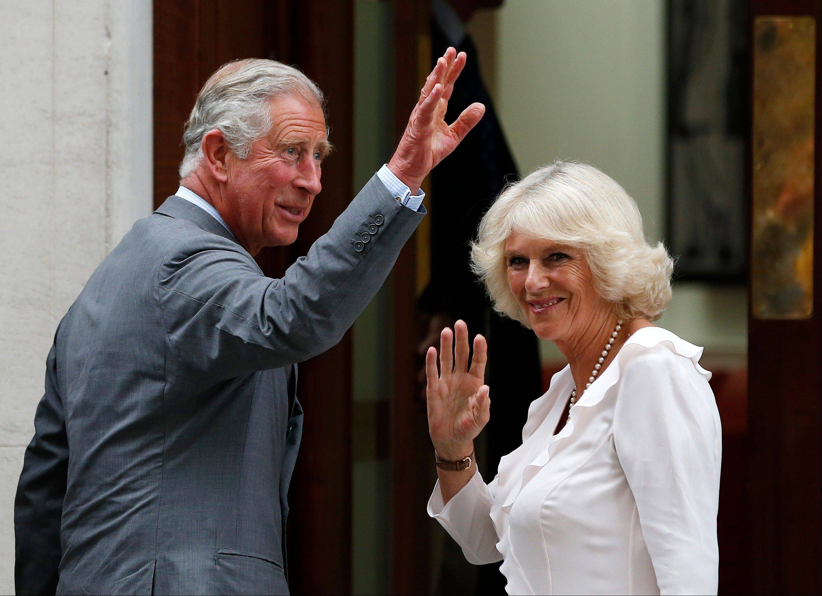 Britain's Prince Charles and his wife Camilla, Duchess of Cornwall arrive at St. Mary's Hospital exclusive Lindo Wing.