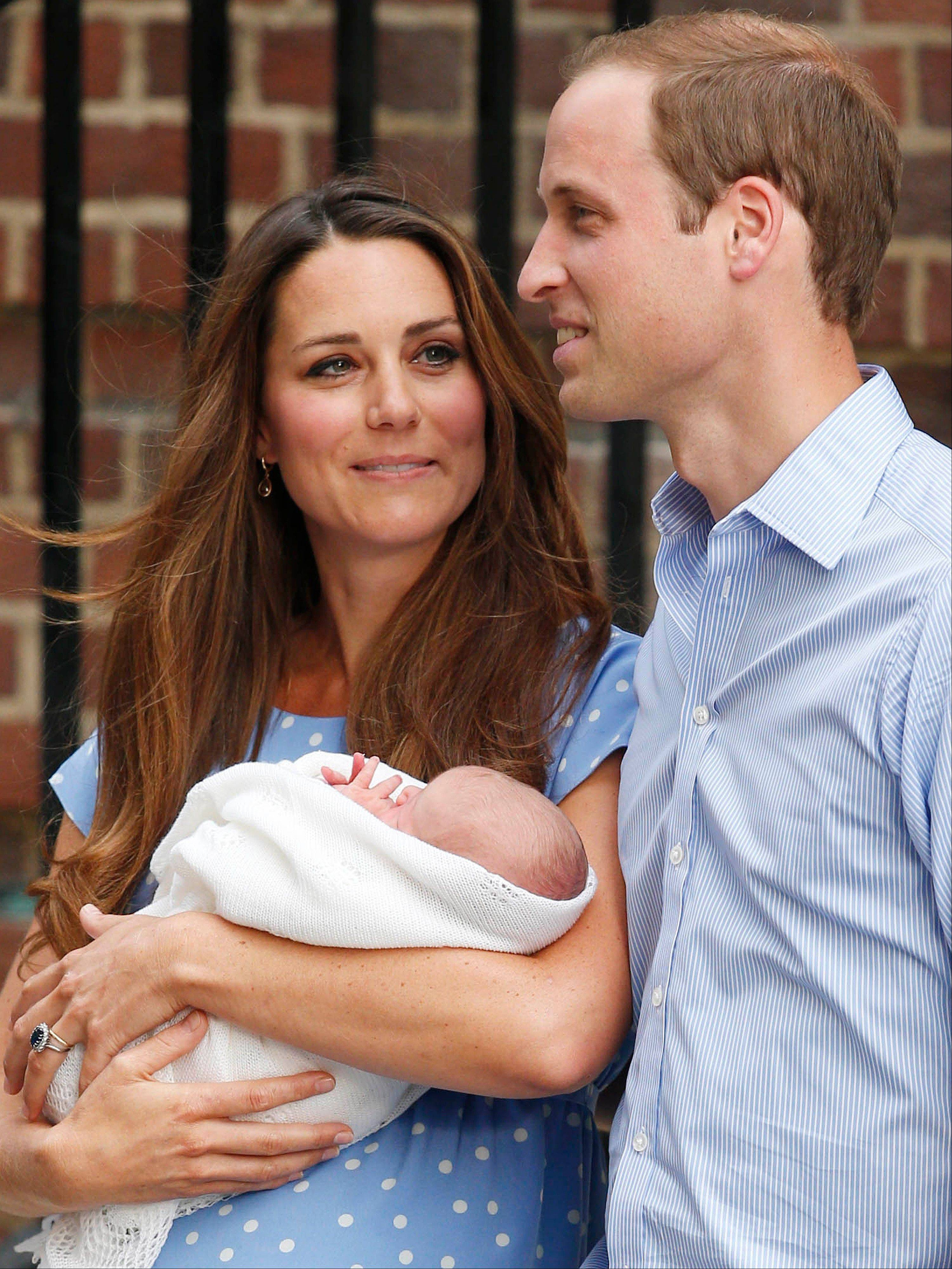 The Duke and Duchess of Cambridge leave the Lindo Wing of St Mary's Hospital in London Tuesday July 23 2013, carrying their newborn son.