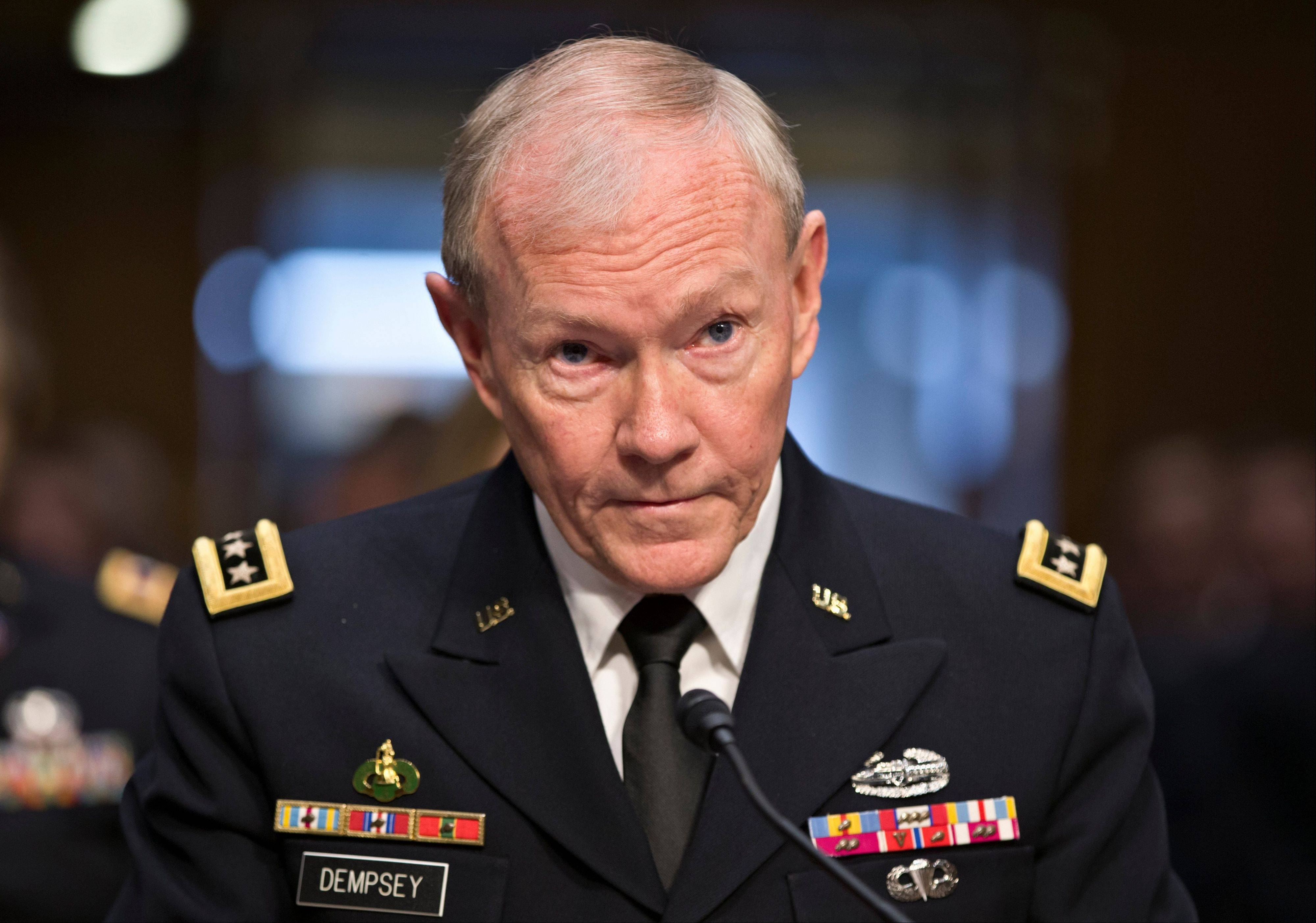 Gen. Martin Dempsey, chairman of the Joint Chiefs of Staff, said Monday establishing a no-fly zone to protect Syrian rebels would require hundreds of U.S. aircraft at a cost of upward of $1 billion per month and no assurance that it would change the momentum in the 2-year-old civil war.