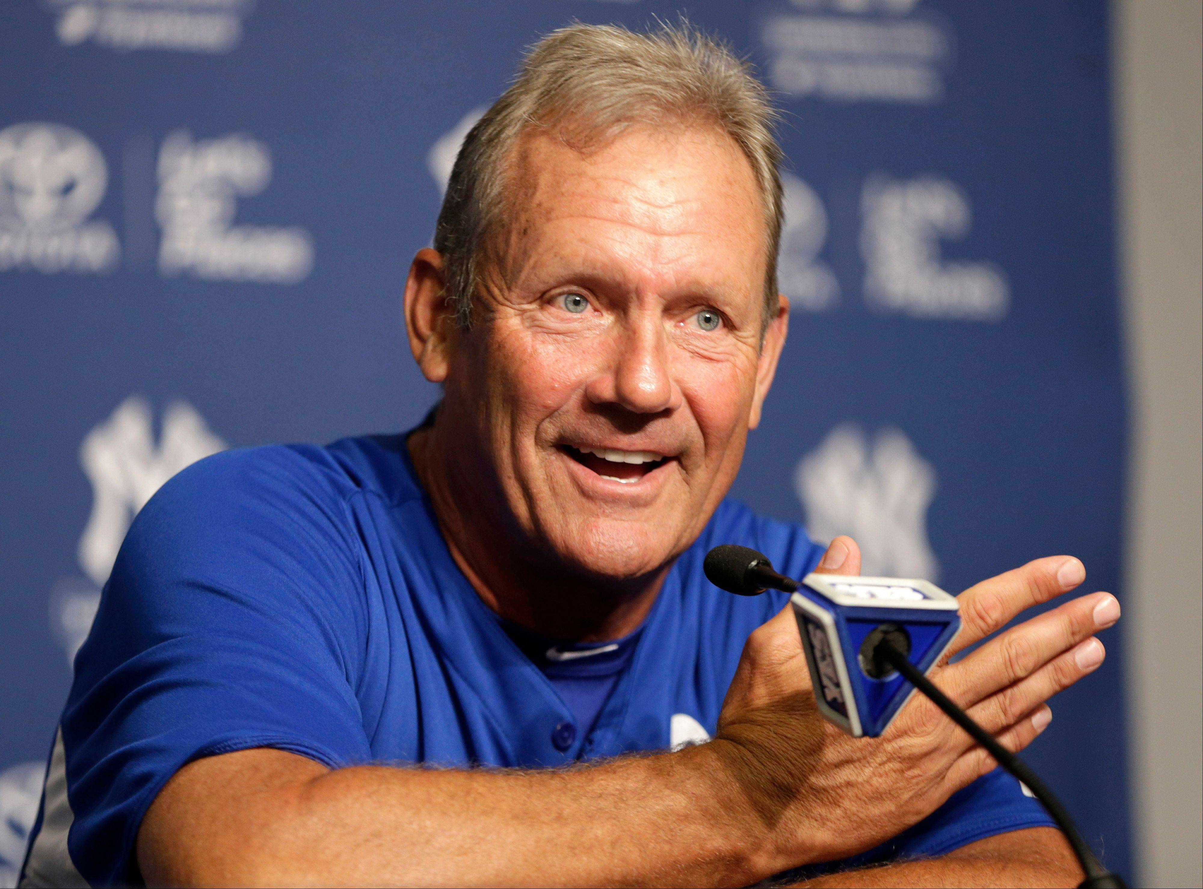 Hall of Famer George Brett discusses the pine tar game during a news conference at Yankee Stadium in New York. The 30th anniversary of the game is Wednesday.