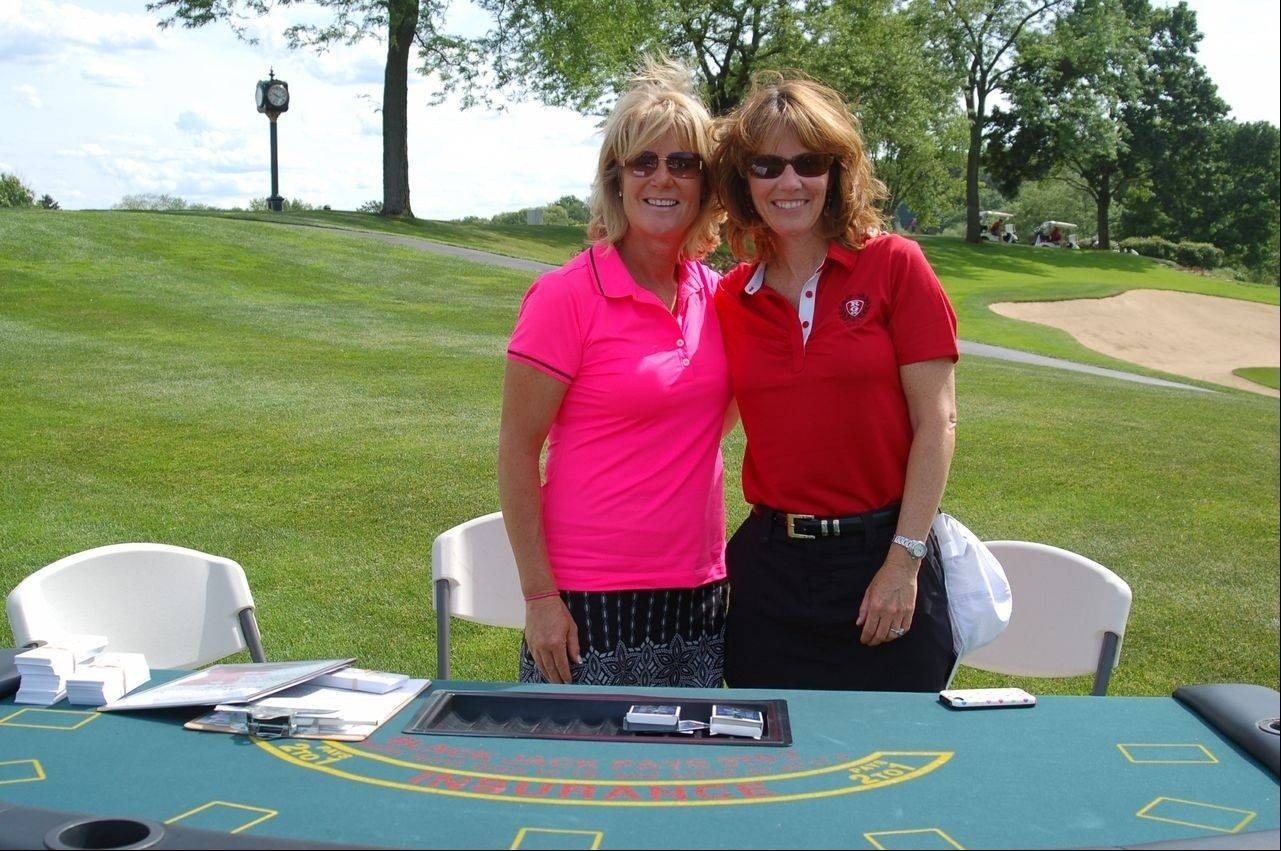 Some of the holes at the Saint Viator Million Dollar Golf Classic had added attractions like this blackjack table.