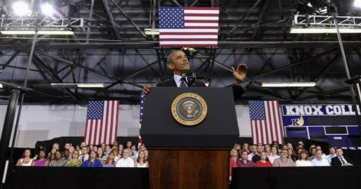 President Barack Obama speaks about the economy, Wednesdayat Knox College in Galesburg.