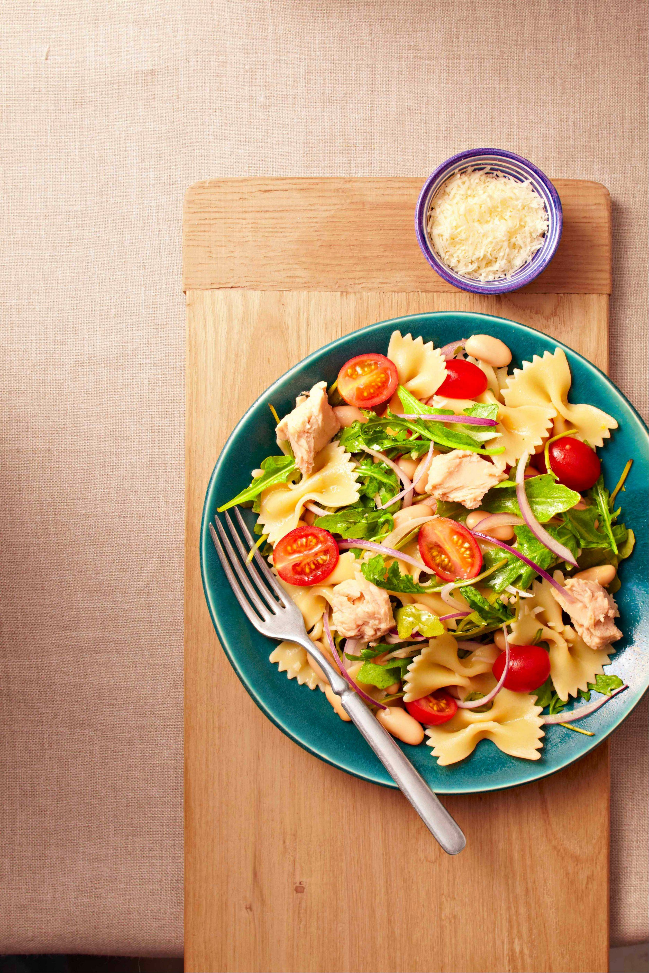 Lemony Pasta Salad gets a protein boost from albacore tuna.