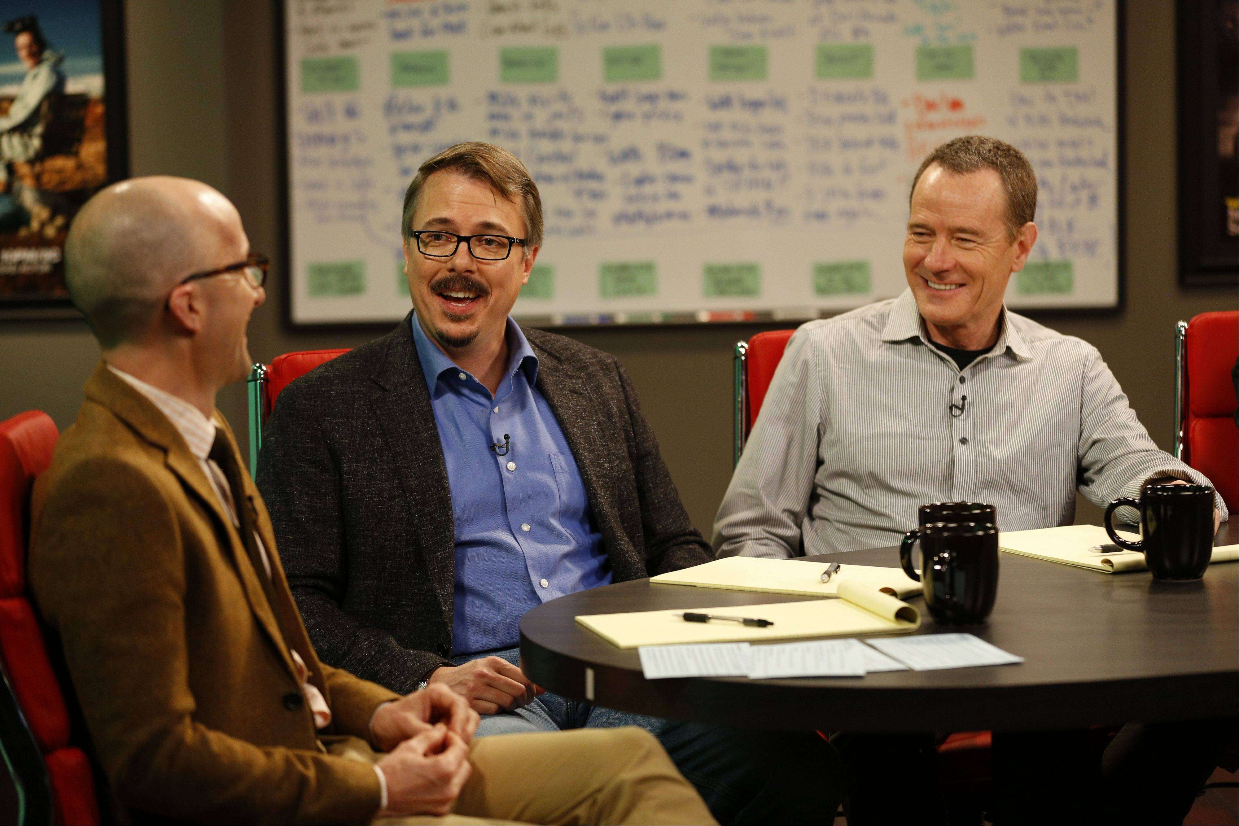 "Host Jim Rash, left, talks about ""Breaking Bad"" with series creator Vince Gilligan, center, and star Bryan Cranston on Sundance Channel's ""The Writers' Room."""