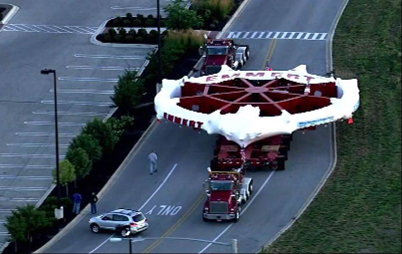 An aerial view of the Fermilab magnet as it arrives in Bolingbrook on Wednesday morning.