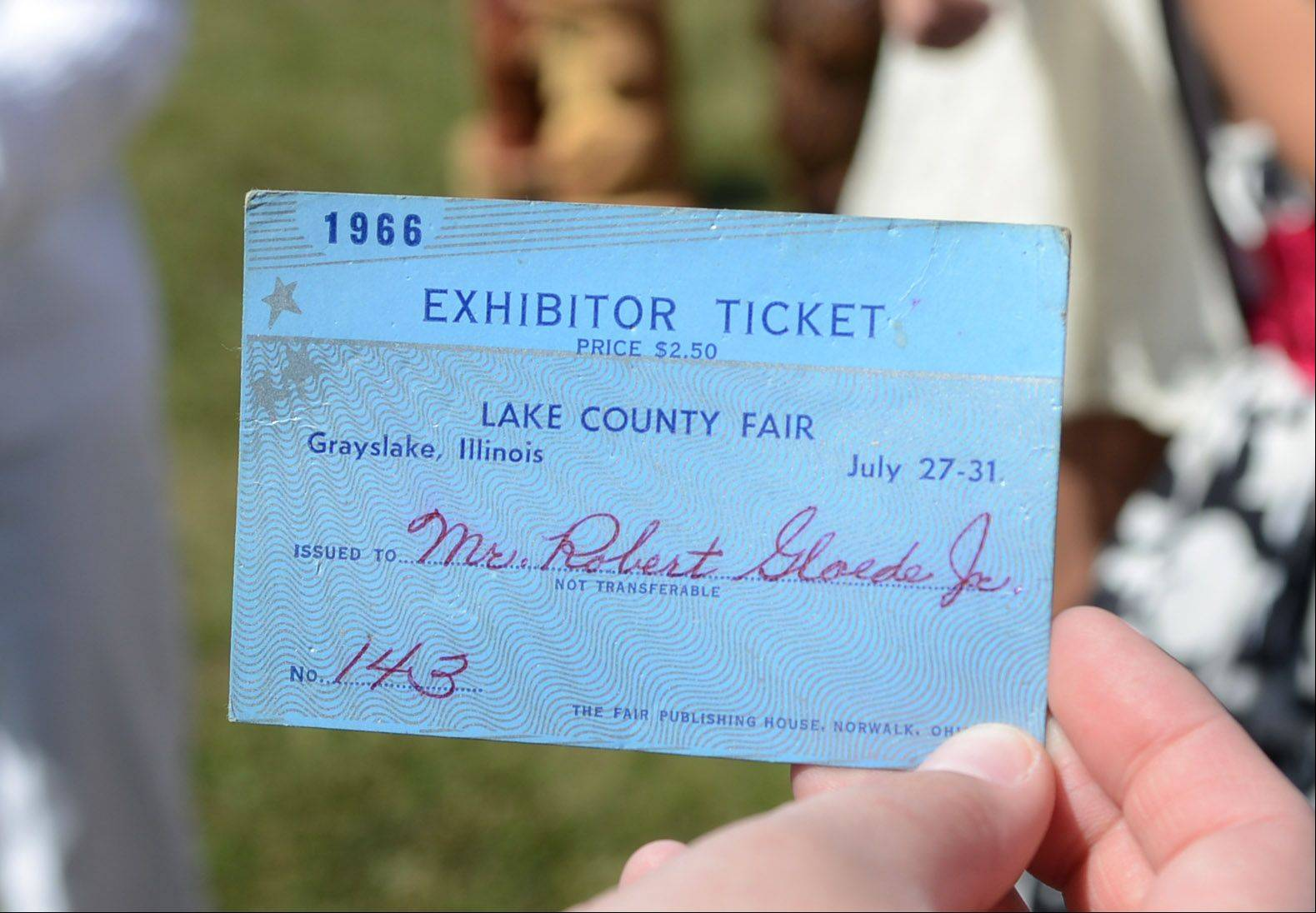 A 1966 Lake County Fair exhibitor ticket donated by Gail Gloede of Grayslake was placed in a time capsule Wednesday.