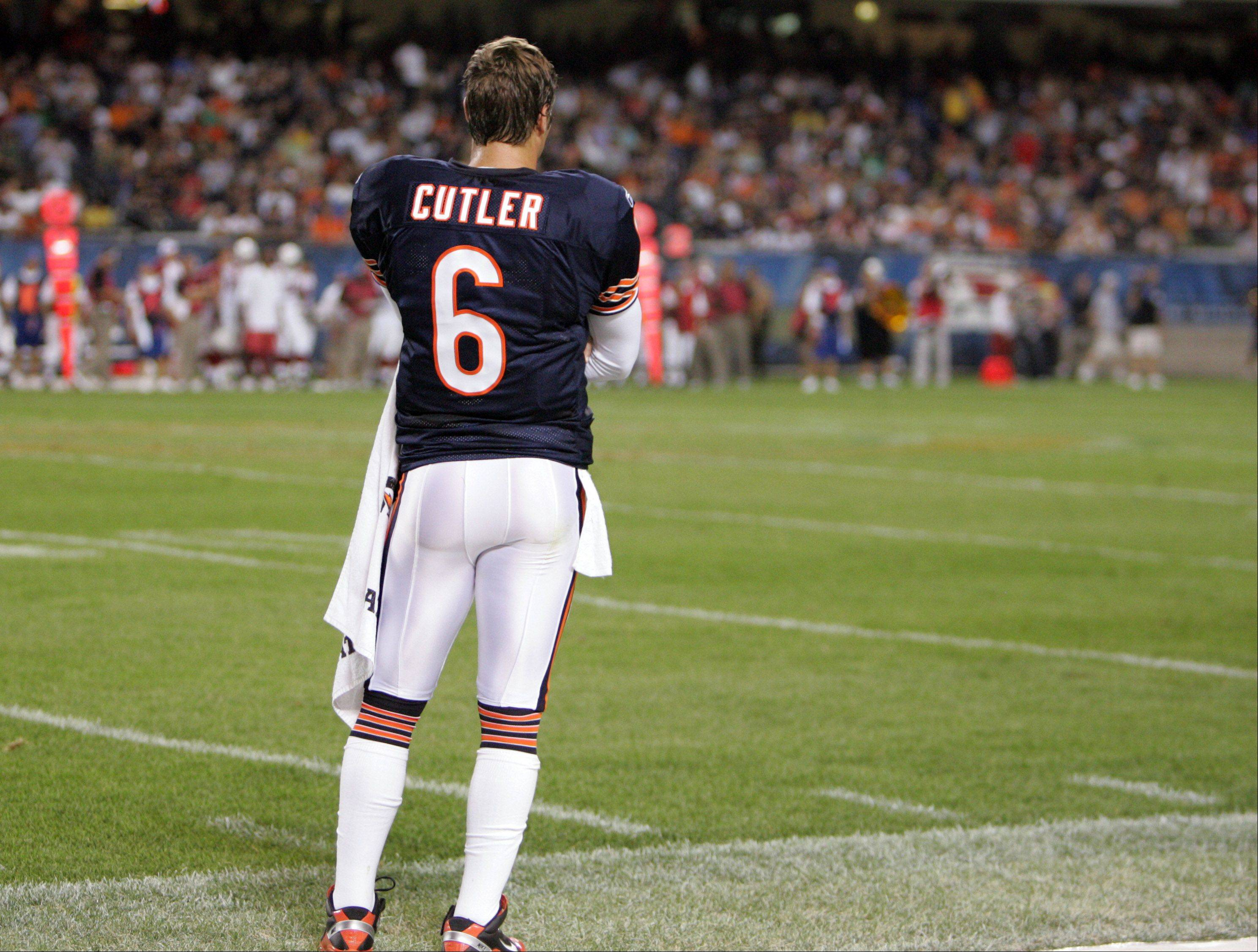 GEORGE LECLAIRE/gleclaire@dailyherald.com � Chicago Bears' Jay Cutler after coming out of the game against the Cardinals' on Saturday, August 28th at Soldier Field in Chicago.