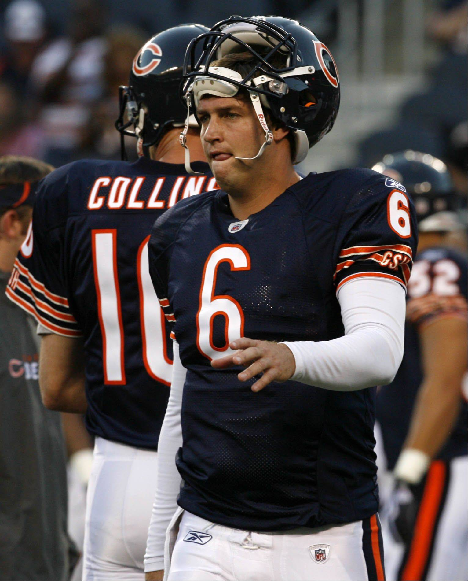 GEORGE LECLAIRE/gleclaire@dailyherald.com ¬ Chicago Bears' quarterbacks Jay Cutler and Todd Collins after warmups in game against Arizona Cardinals' on Saturday, August 28th at Soldier Field in Chicago.